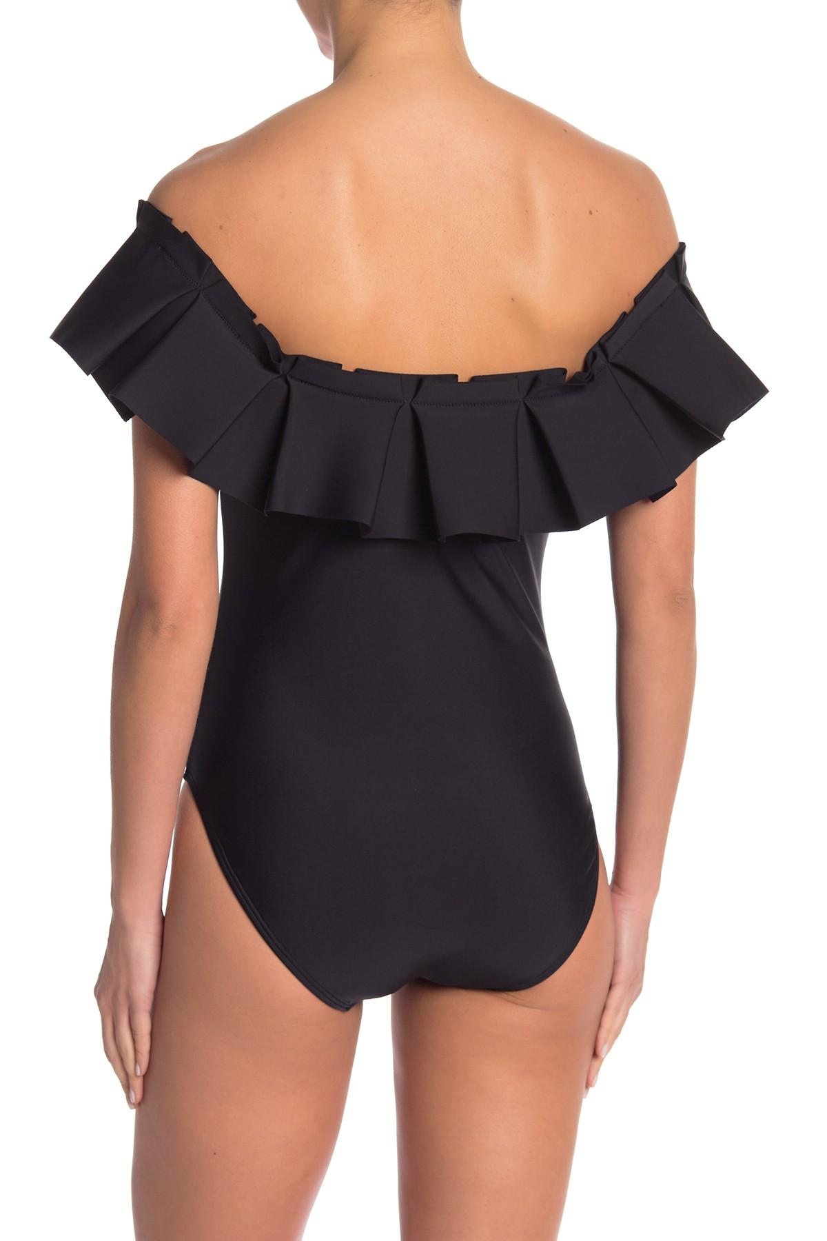 a51b728f57 Ted Baker Solmina Box Pleated Bardot One-piece Swimsuit in Black - Lyst