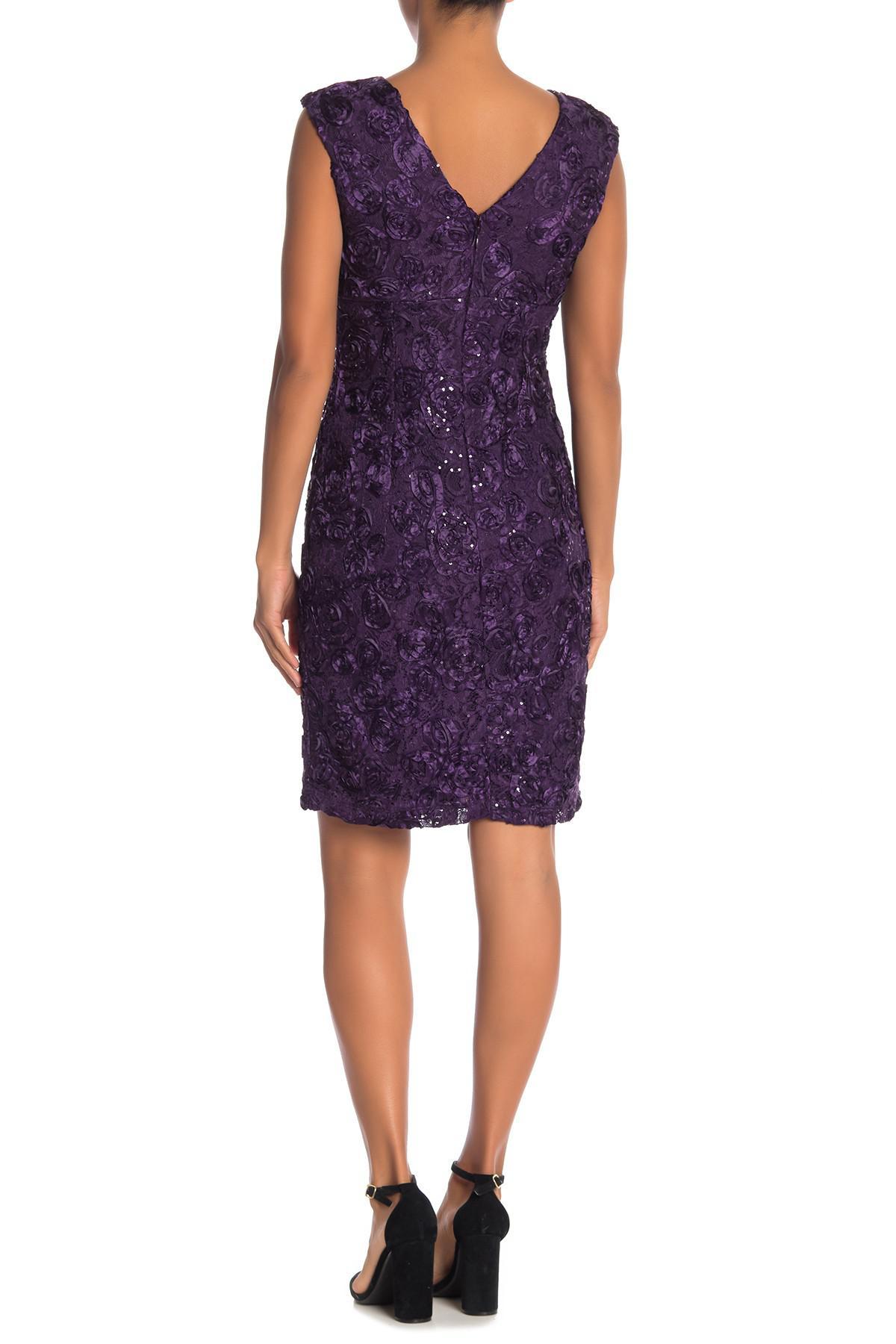 24bbc311cc50 Marina. Women's Purple Floral Applique Cap Sleeve Dress. $139 $60 From Nordstrom  Rack