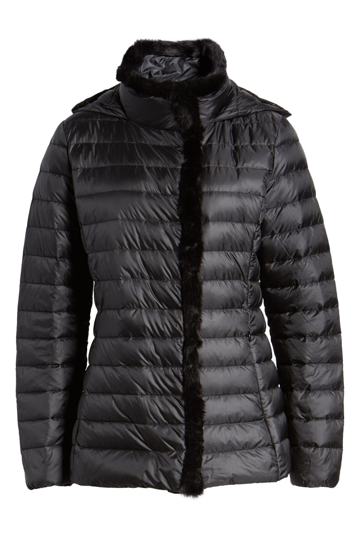 Cole Haan Quilted Down Jacket With Faux Fur Trim In Black
