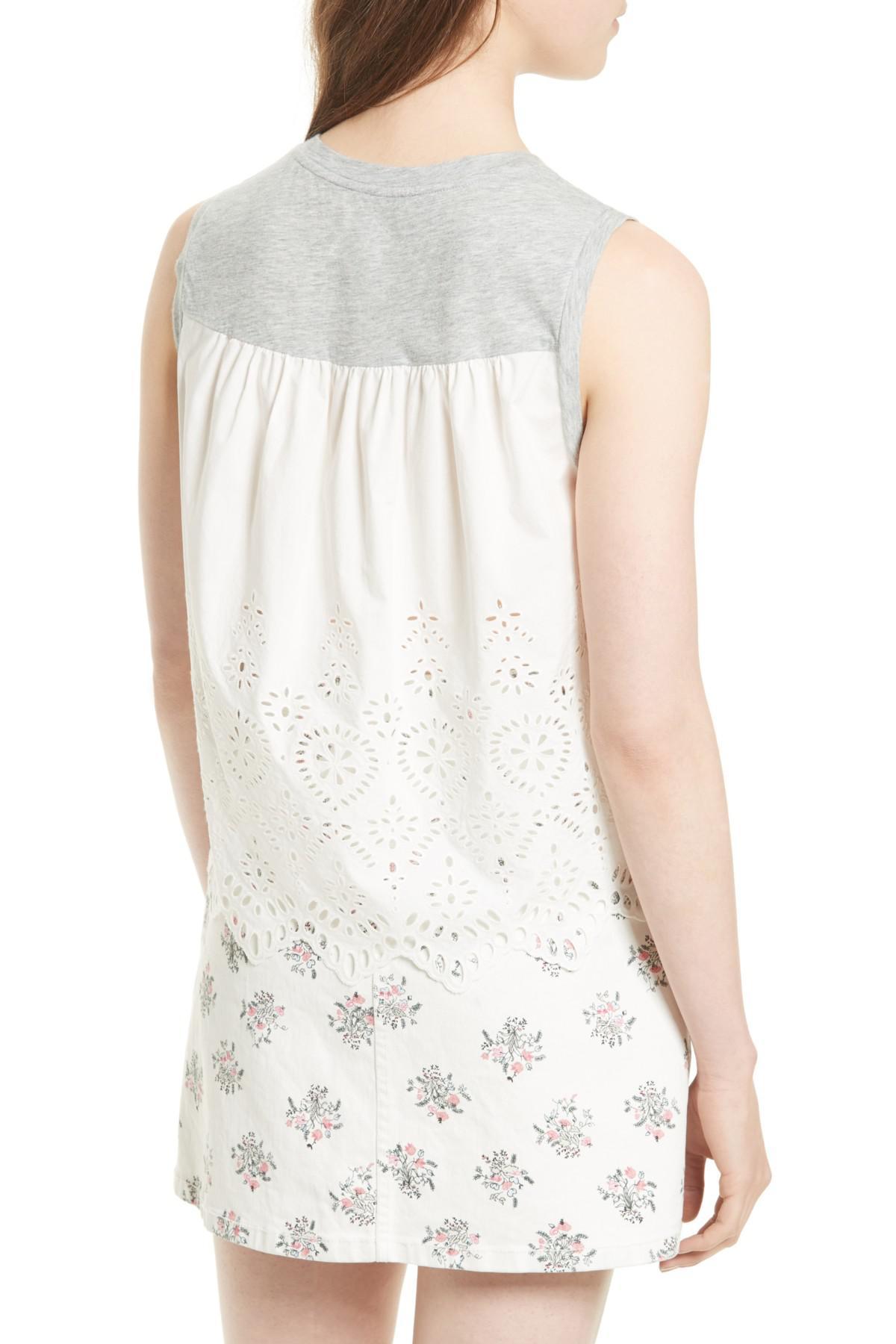 60897555e00 Lyst - La Vie Rebecca Taylor Jersey   Eyelet Top in White