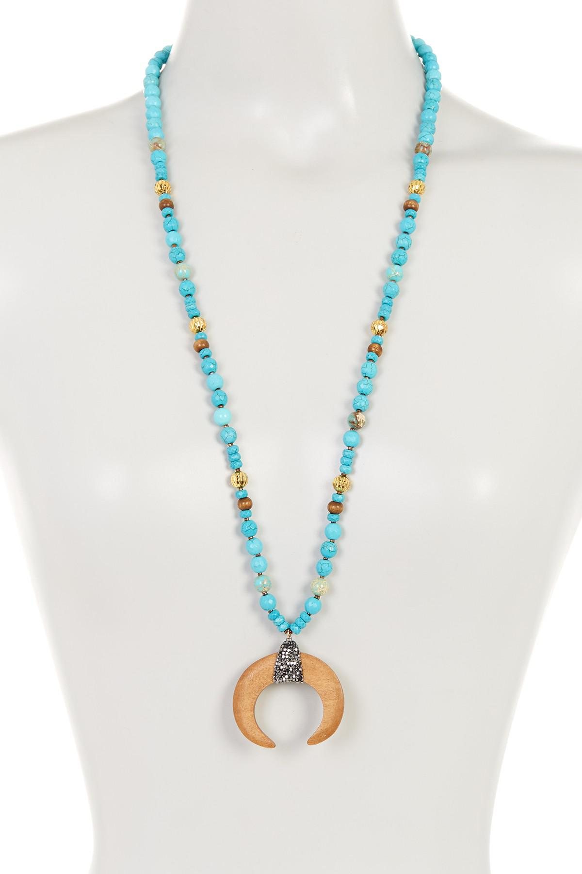 Lyst Panacea Turquoise Beaded Wood Horn Pendant Necklace