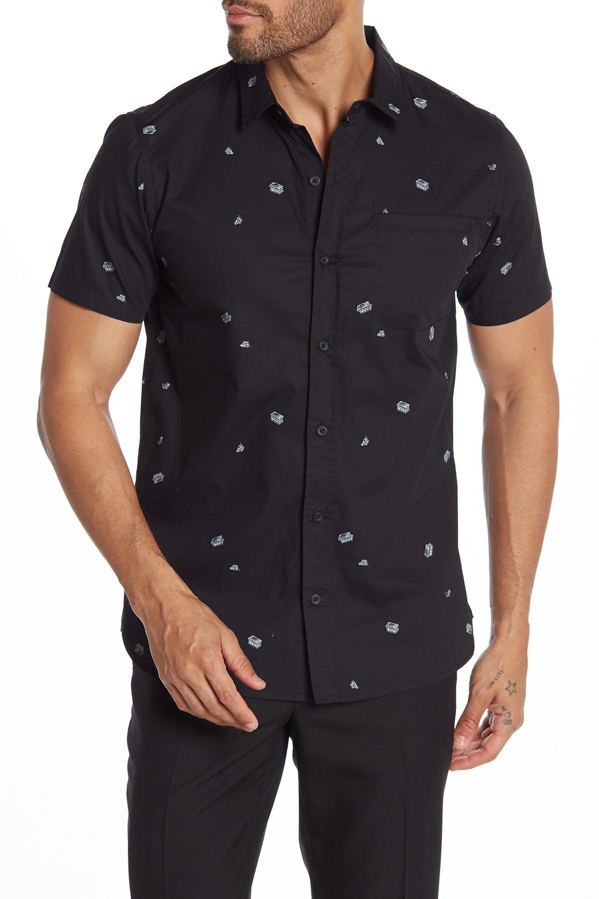 df9f8a8cfa148 Lyst - Tavik Porter Printed Oxford Shirt in Black for Men