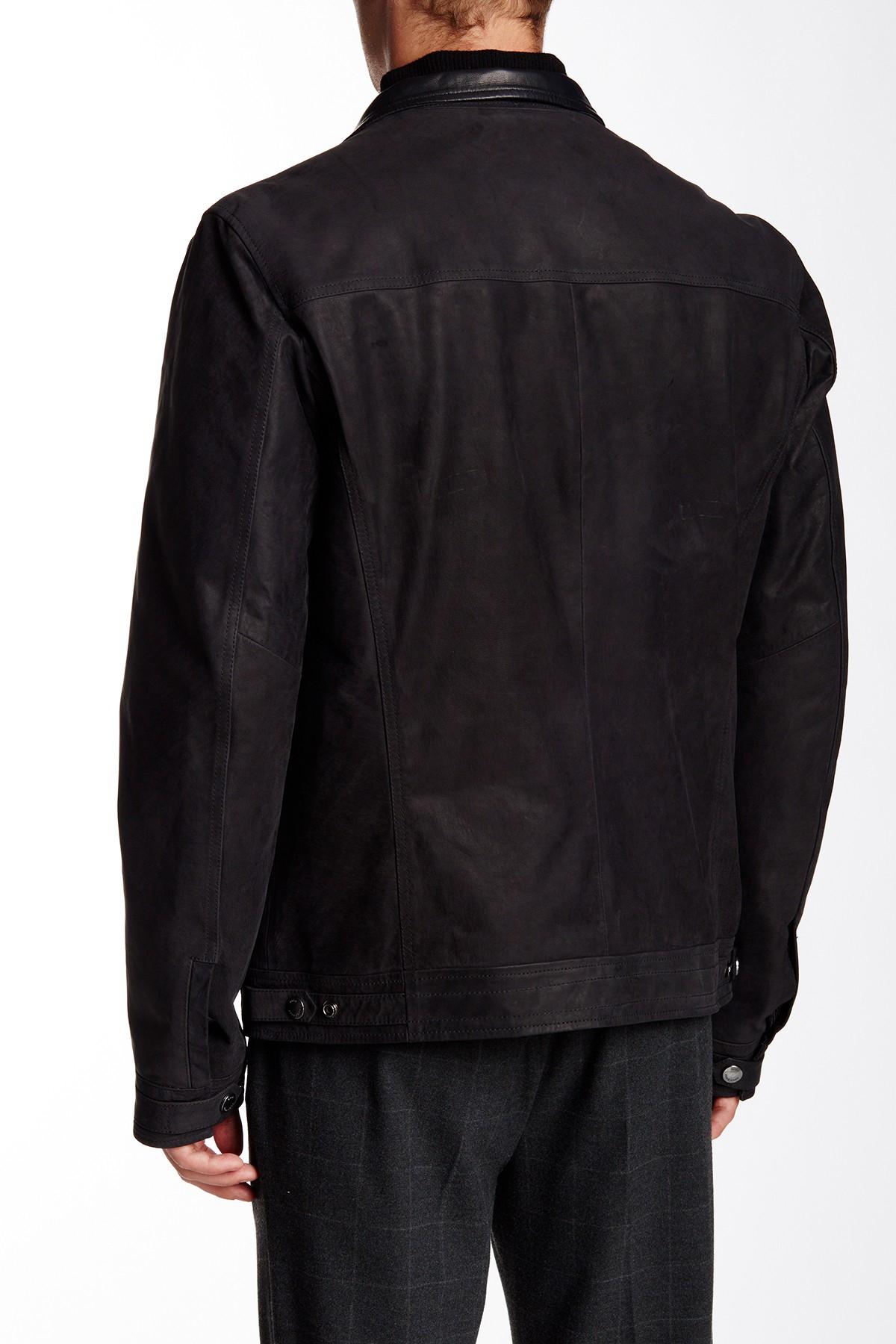 Lyst boss alven genuine leather jacket in black for men for Mercedes benz leather jacket