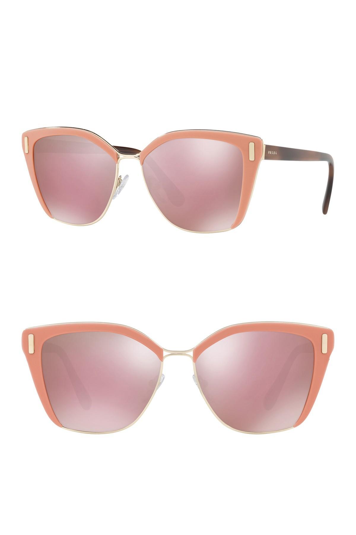 c4a58a89506 Prada - Pink 57mm Square Sunglasses - Lyst. View fullscreen