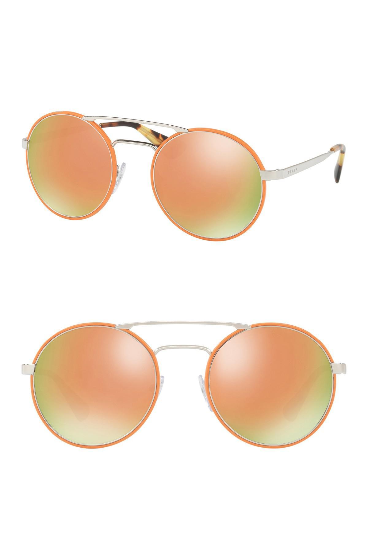fe50a7faaf453 Prada Catwalk 54mm Round Sunglasses in Orange - Lyst