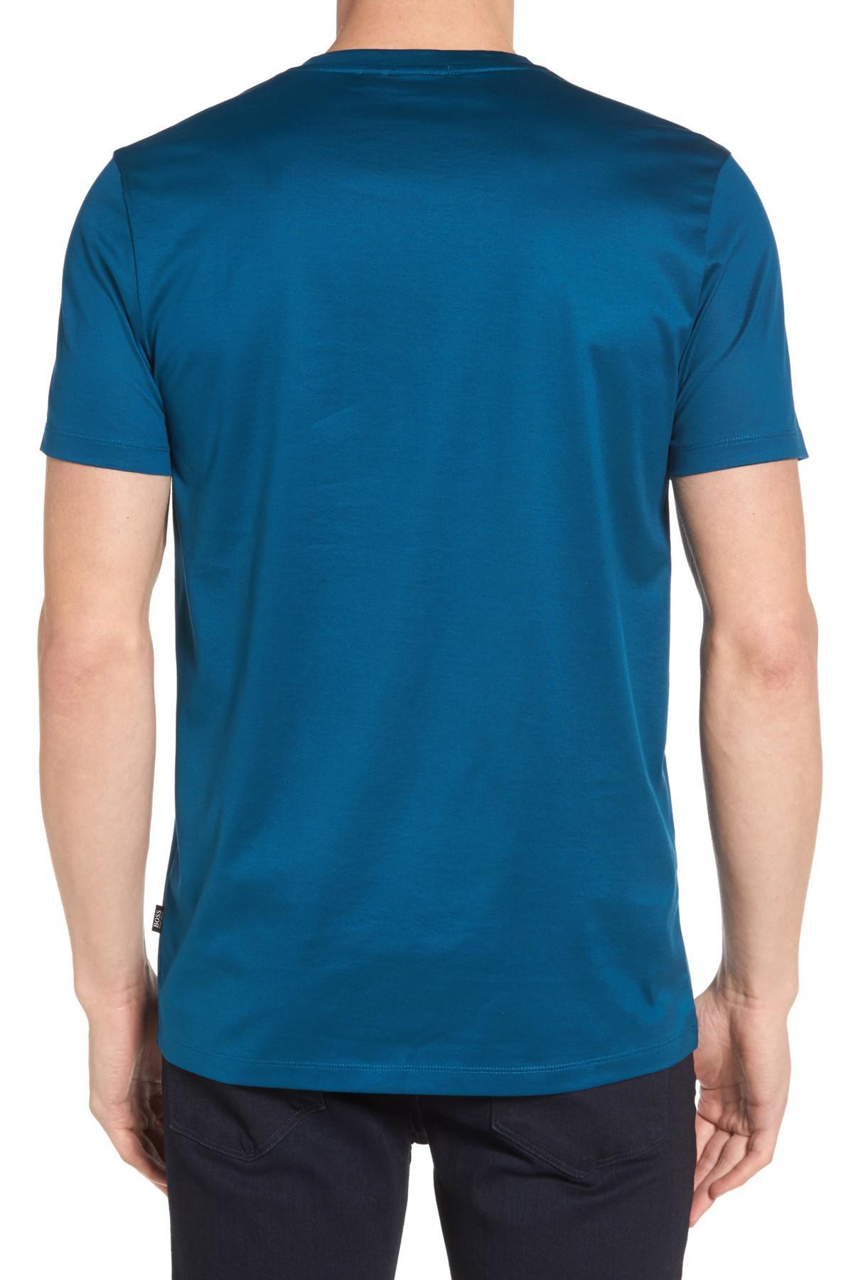 Lyst boss slim fit v neck t shirt in blue for men for Slim v neck t shirt