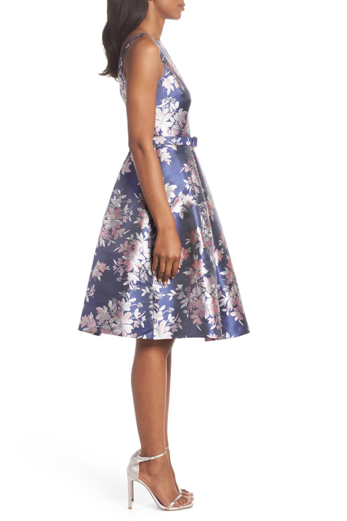Eliza J Floral Jacquard Fit Amp Flare Dress In Blue Lyst