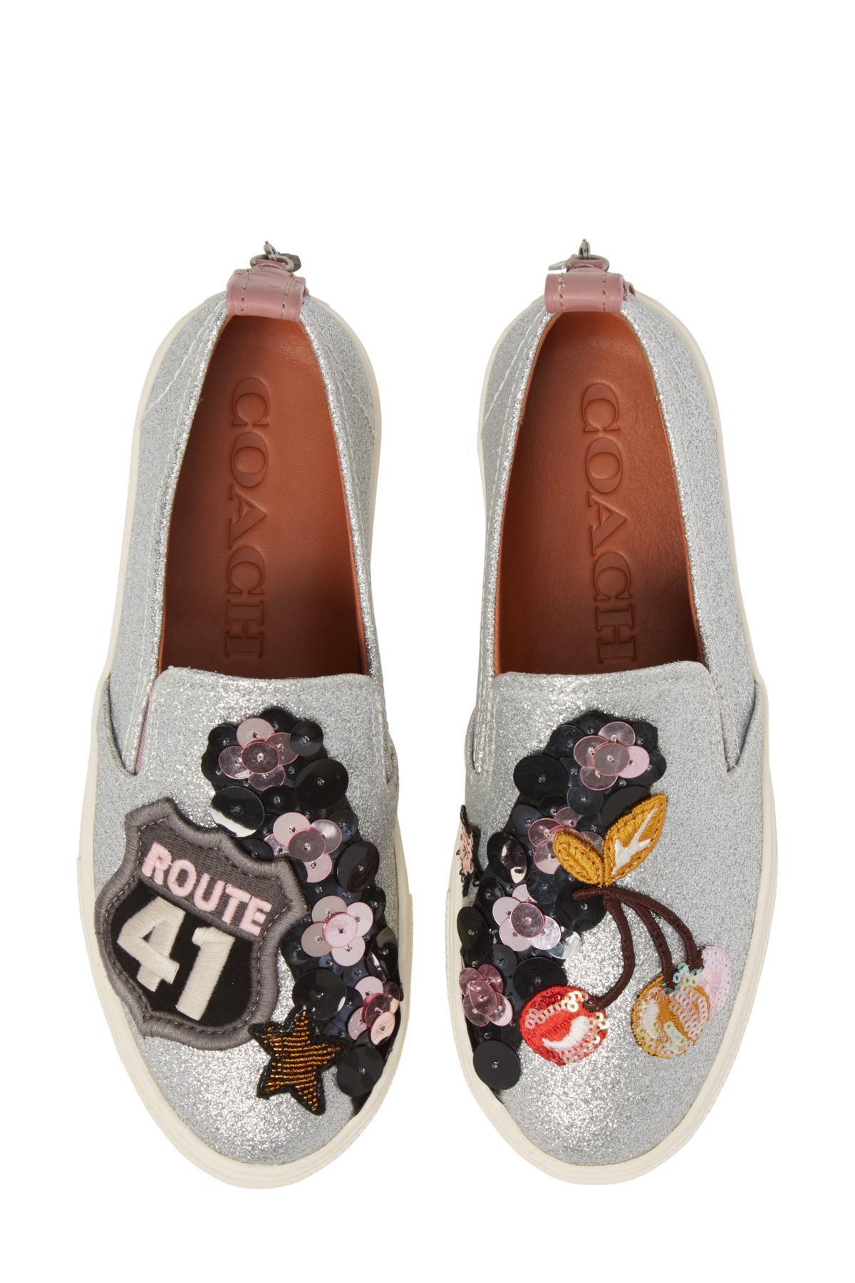 bb76e809 COACH Metallic Cherry Patch Slip-on Sneaker (women)