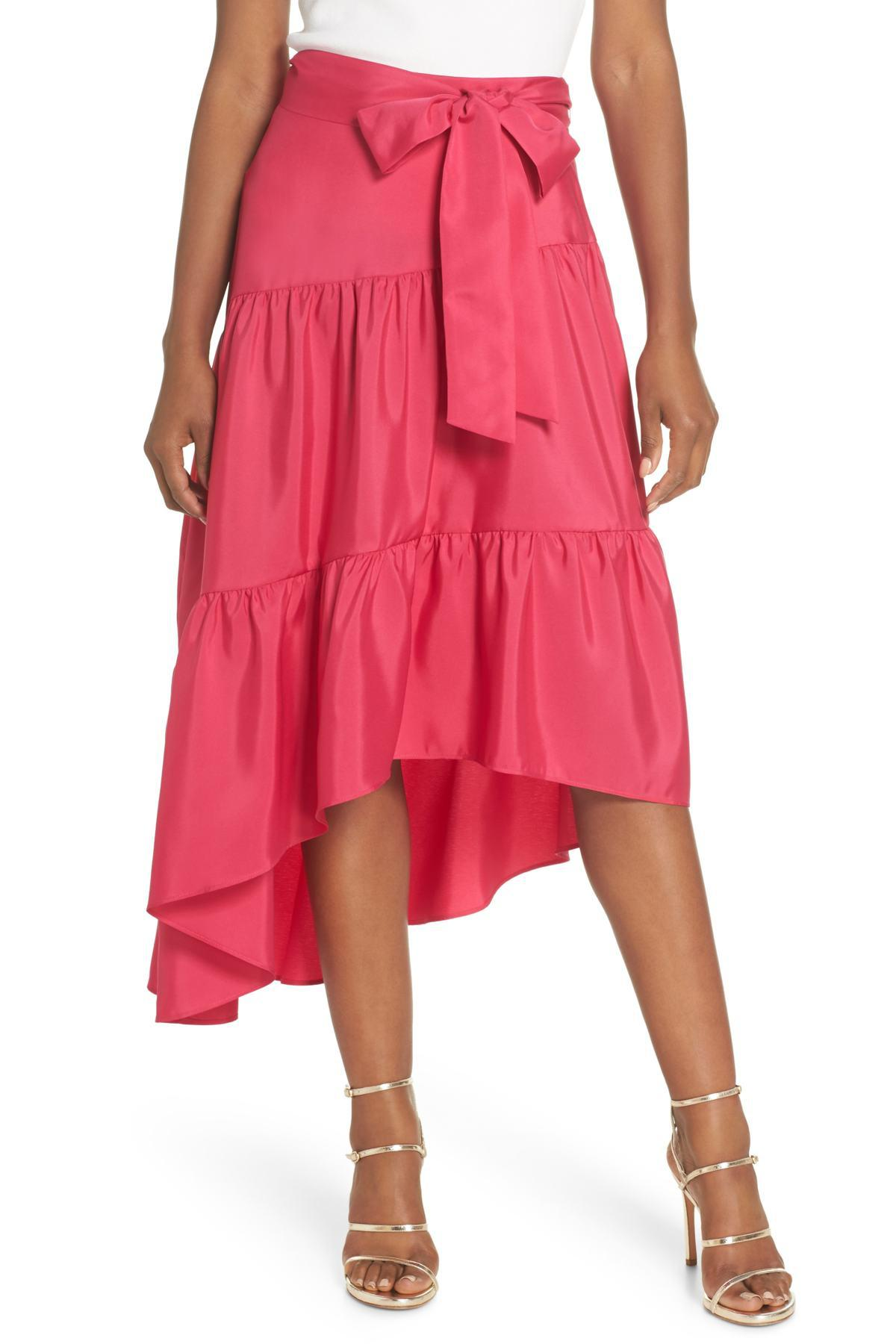2ad3df9a511 Lyst - Eliza J Tiered High low Skirt in Pink - Save 81%