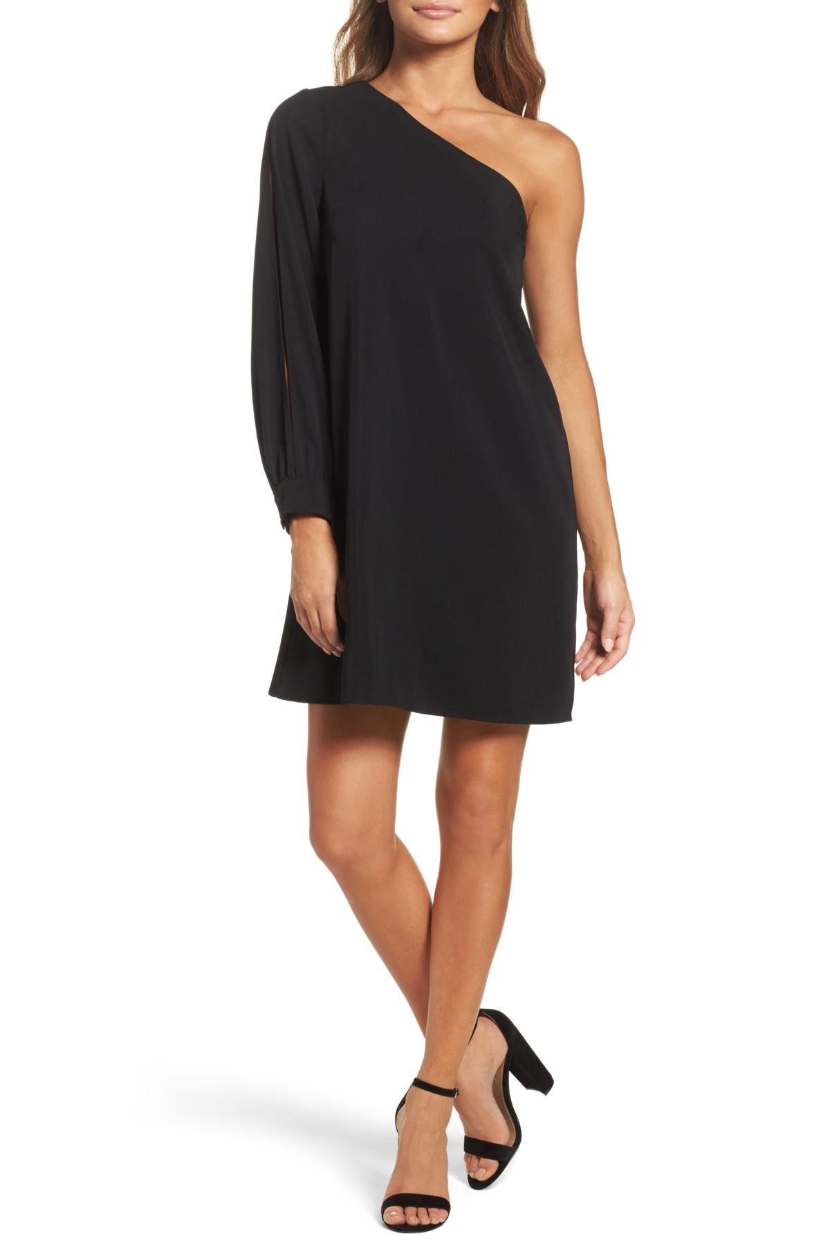 097812fca36c Chelsea28 One-shoulder Shift Dress in Black - Lyst