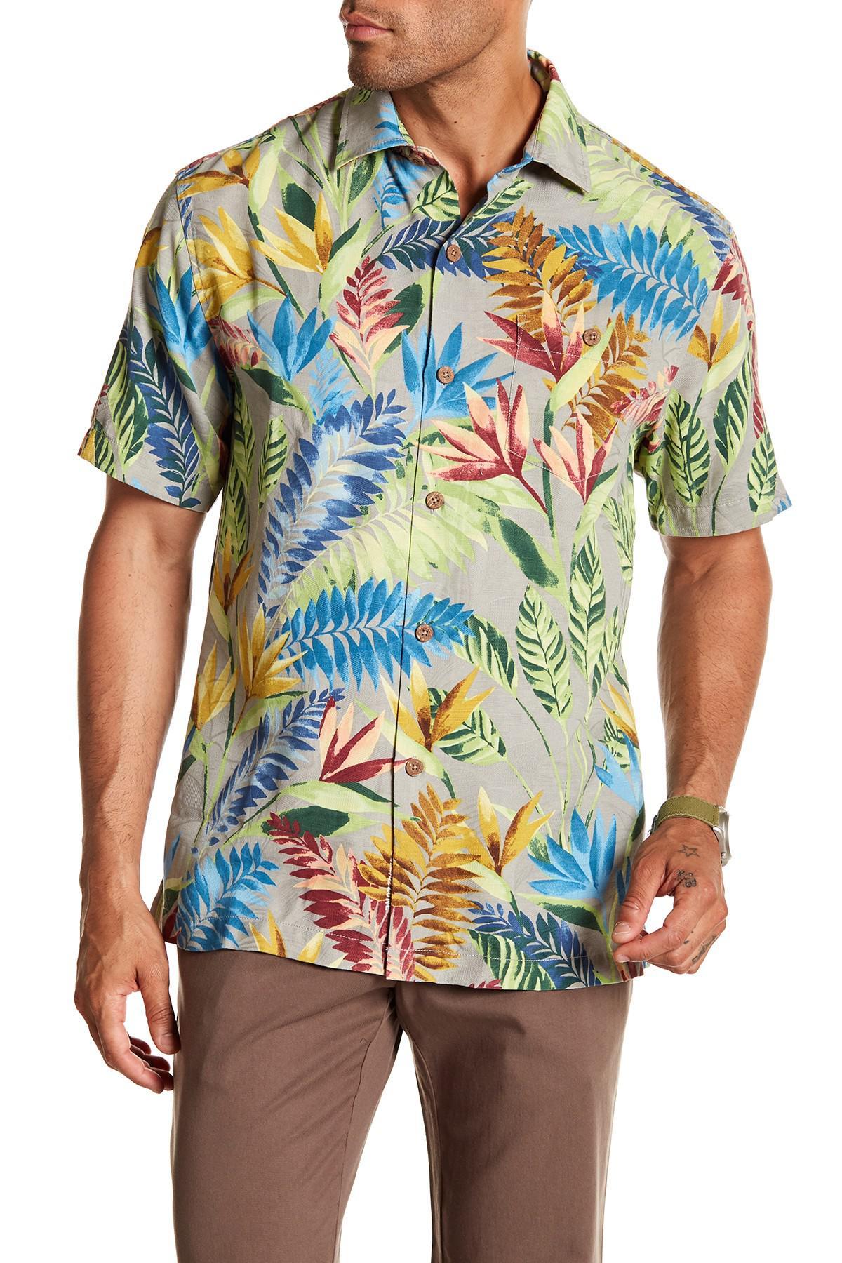 Tommy Bahama Taza Fronds-Pebble Grey Island Zone Silk Blend Camp Shirt $135
