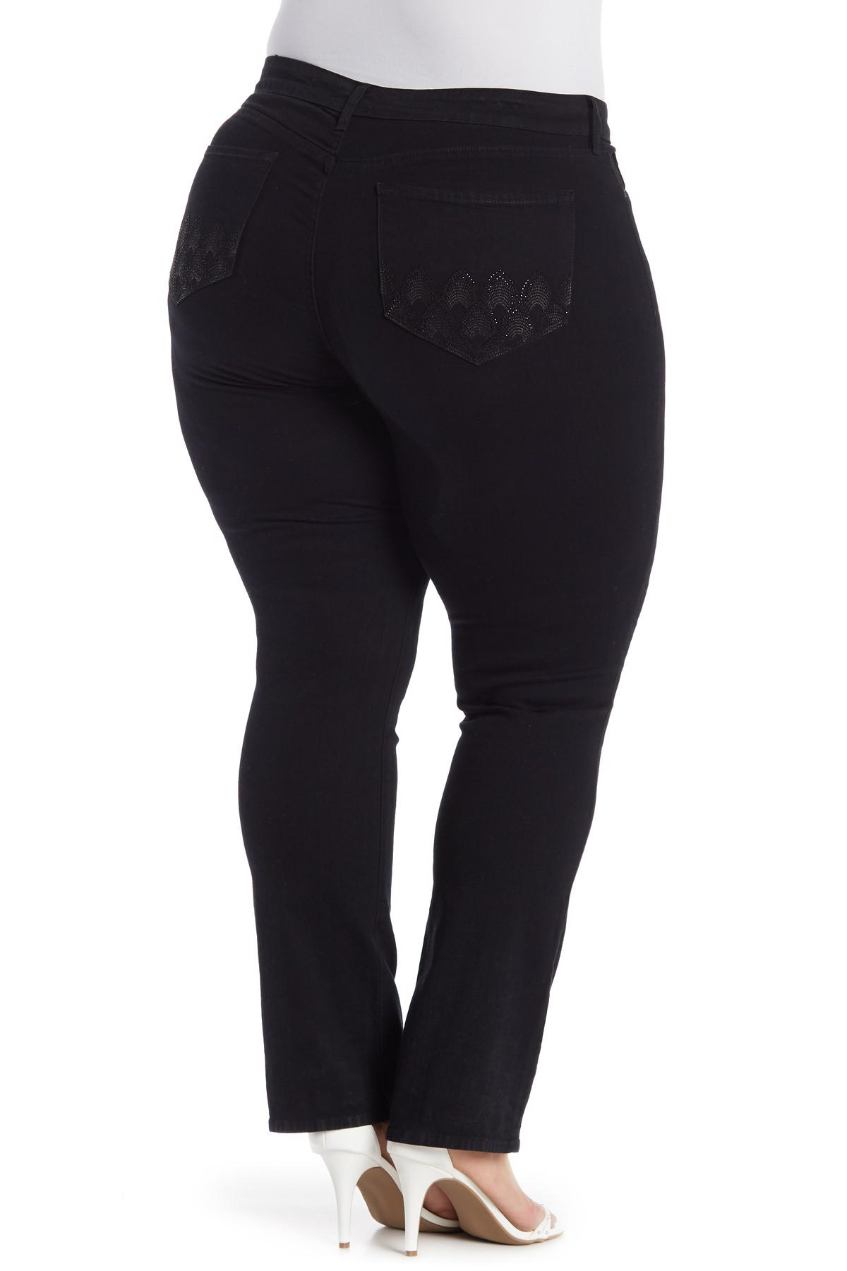 42cc22a0253 NYDJ - Black Marilyn Rhinestone Embellished Straight Leg Jeans (plus Size)  - Lyst. View fullscreen