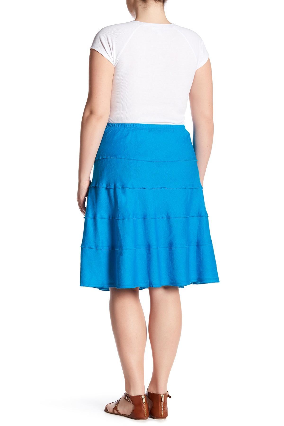 Lyst Allen Allen Tiered Skirt Plus Size In Blue