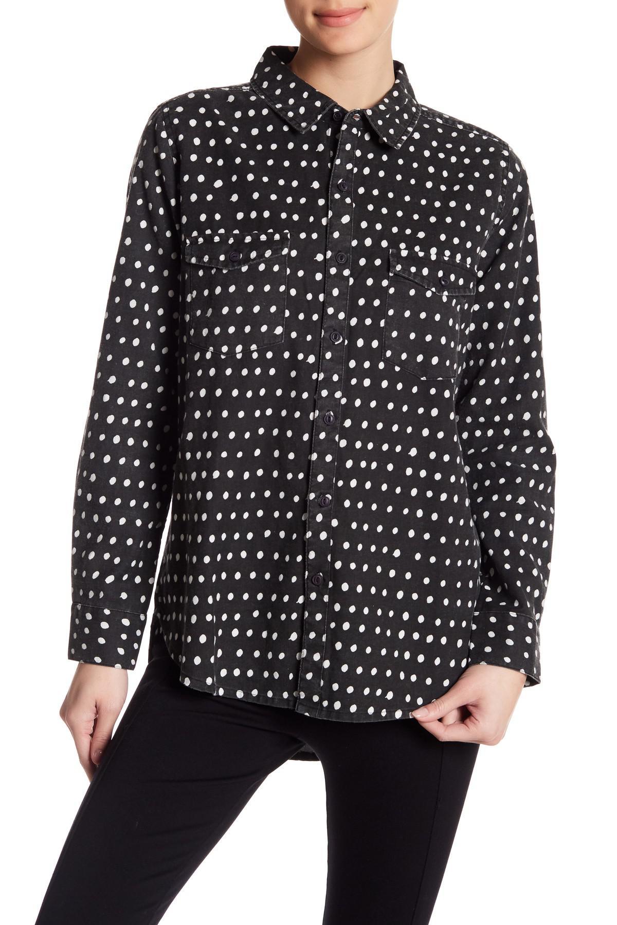 Lyst neuw printed button up shirt in black for Button down polka dot shirt