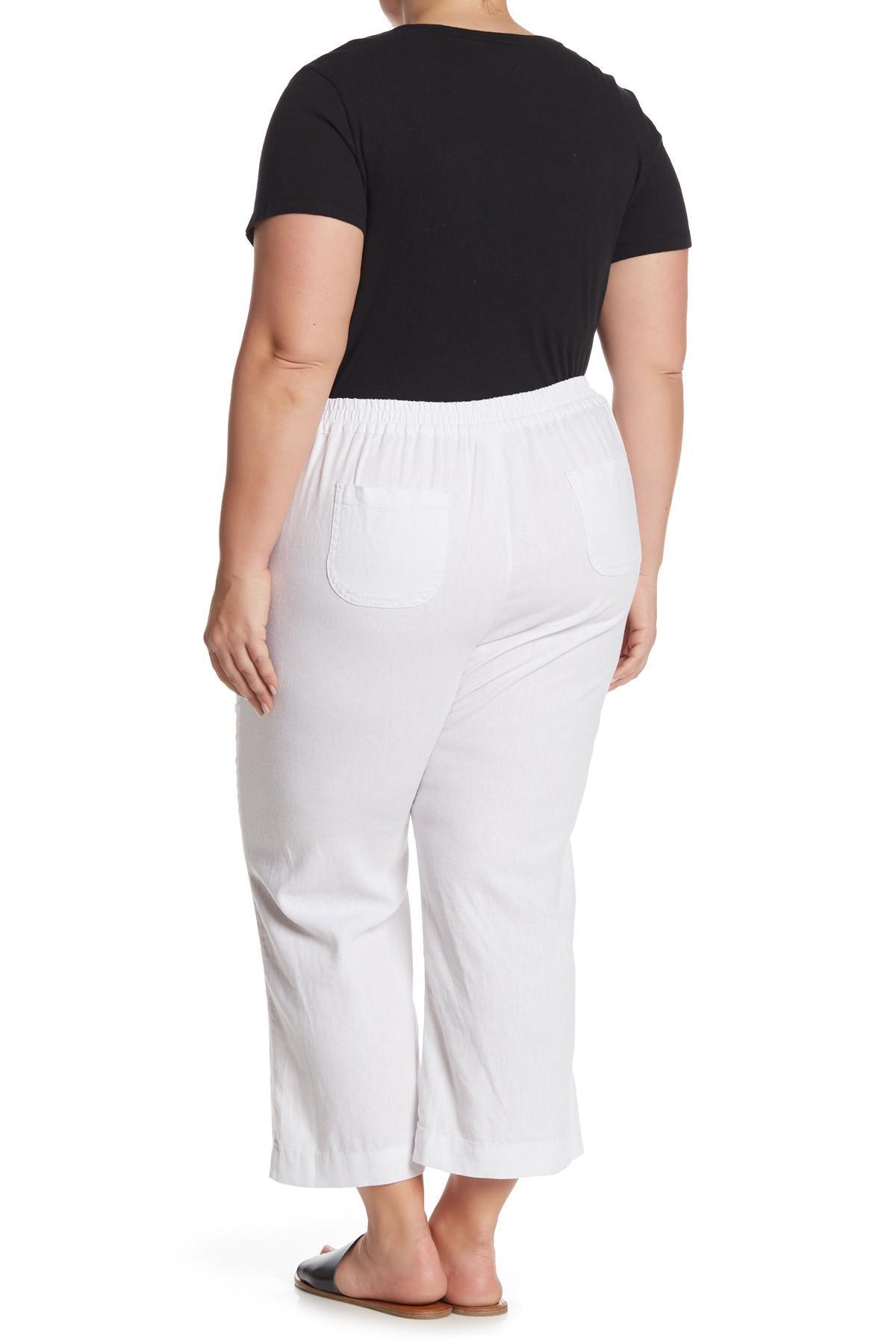 f97da6e8d25 Lyst - Caslon Solid Wide Leg Cropped Linen Pants (plus Size) in White