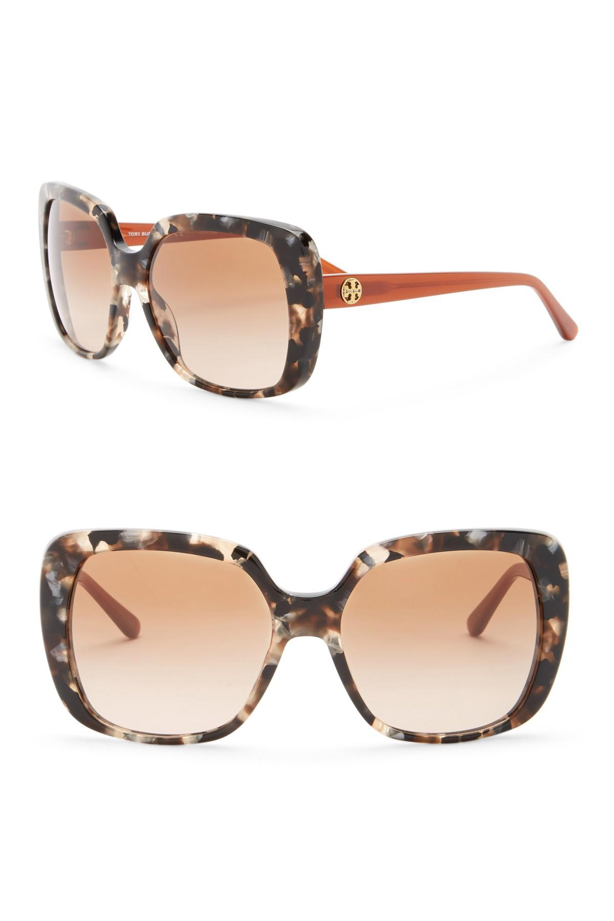 8d1aaef35762 Tory Burch Rectangle 57mm Sunglasses in Brown - Lyst