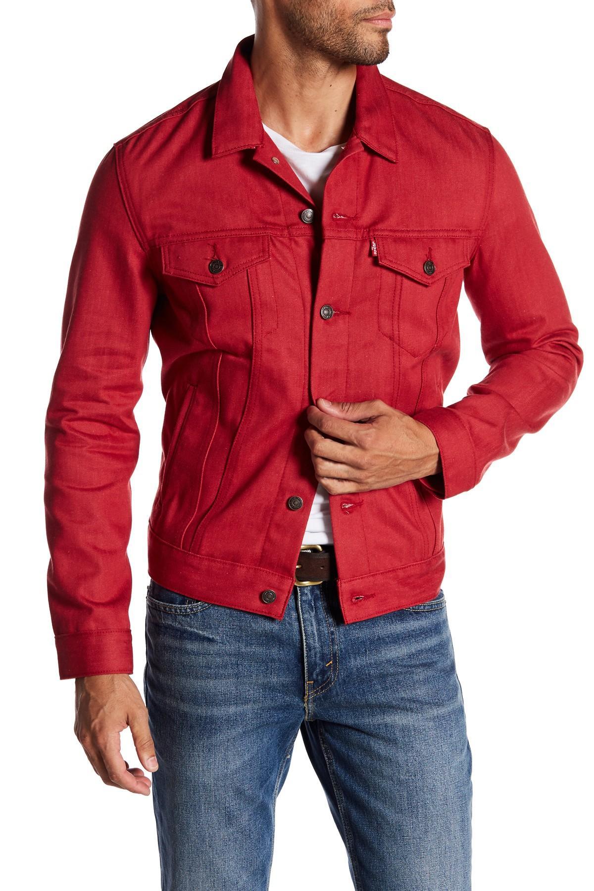 Levi's The Trucker Denim Jacket in Red for Men - Lyst