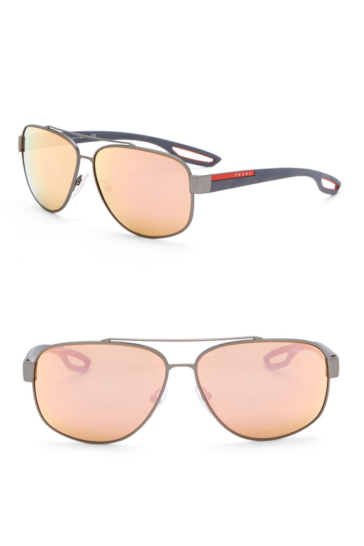 23c09a2df59f Prada - Multicolor 60mm Navigator Sunglasses for Men - Lyst. View fullscreen
