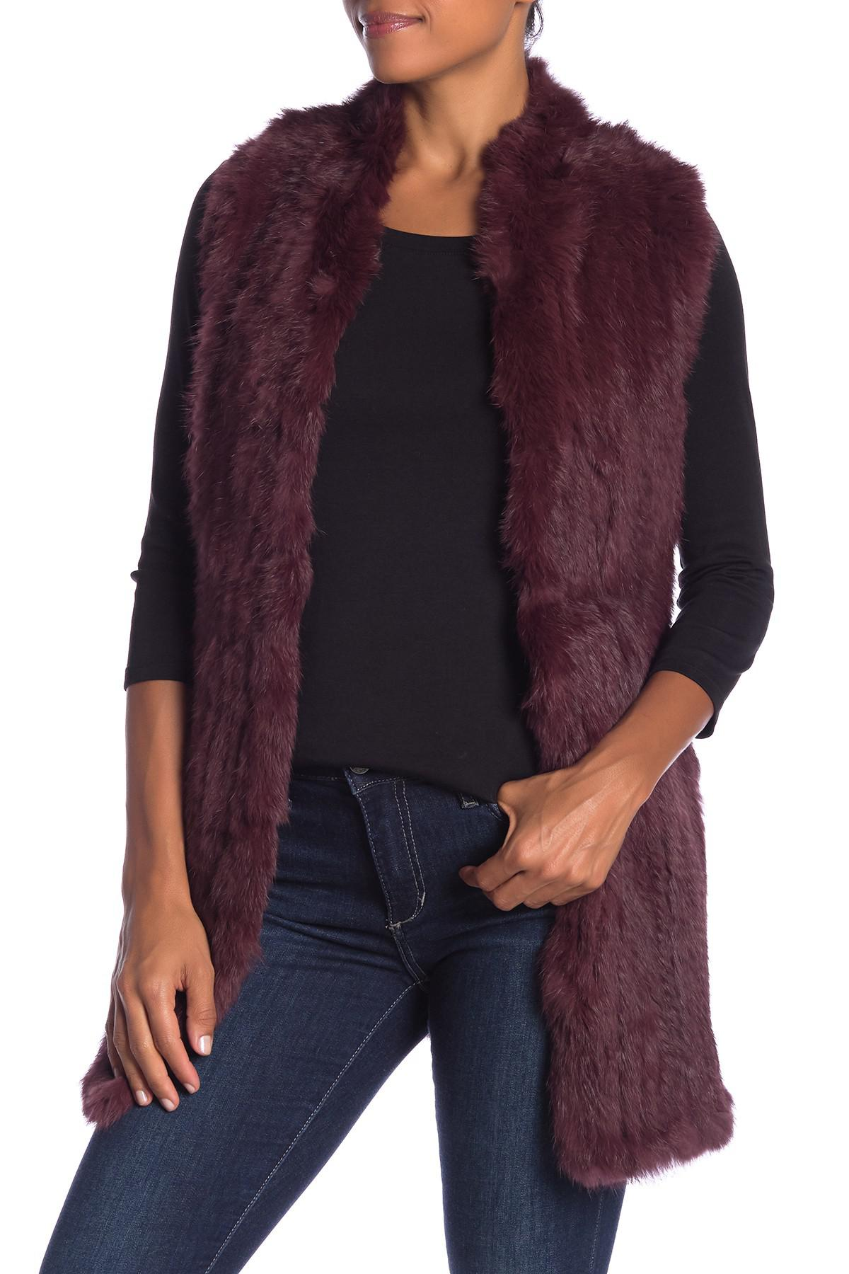 6fa0ce53e Lyst - Love Token Genuine Dyed Rabbit Fur Vest in Purple