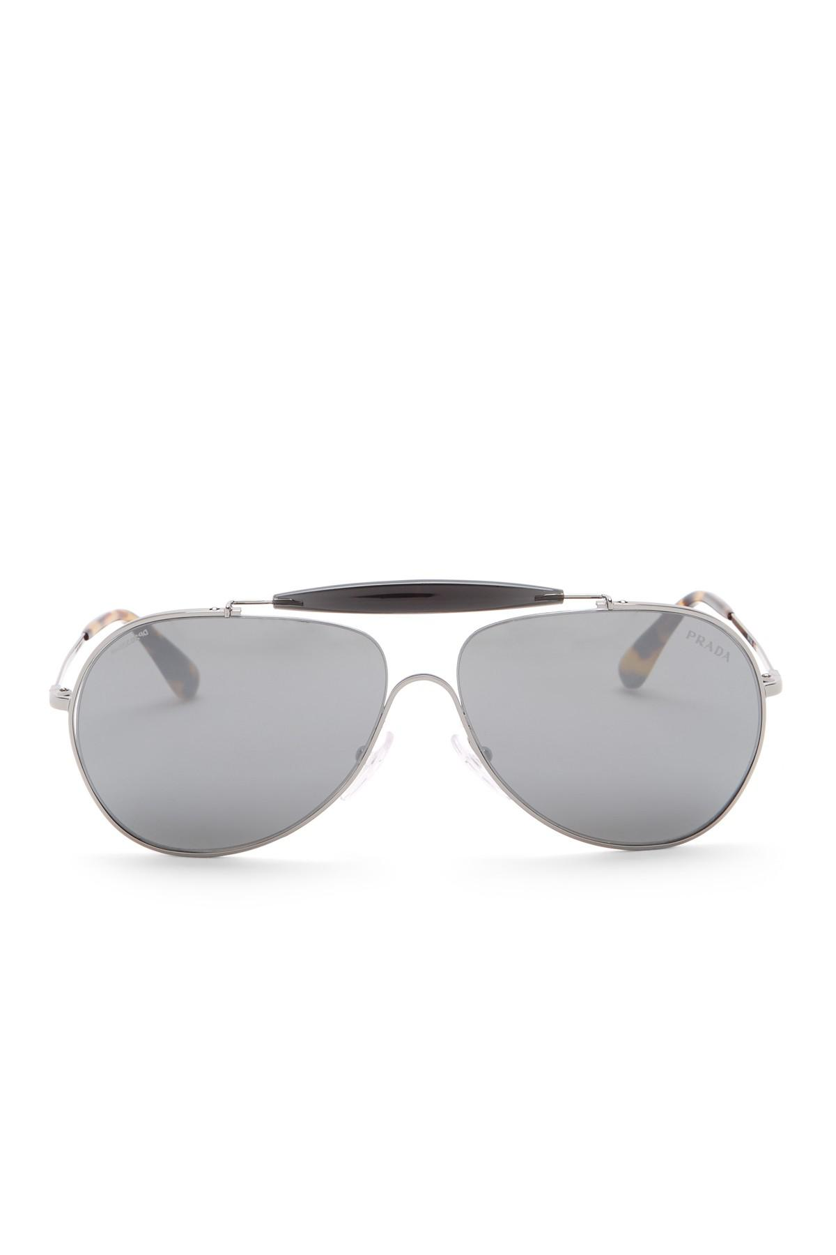f90a06a049b4 Prada - Metallic 59mm Aviator Sunglasses for Men - Lyst. View fullscreen