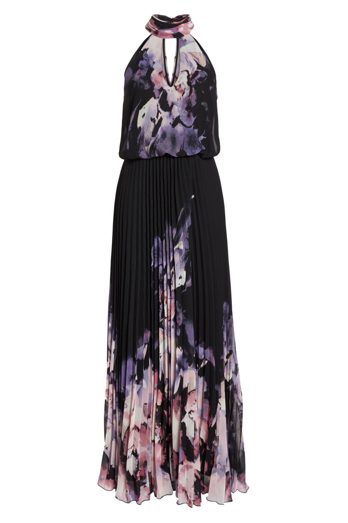 81e665784df07 Lyst - Xscape Pleated Halter Neck Chiffon Gown