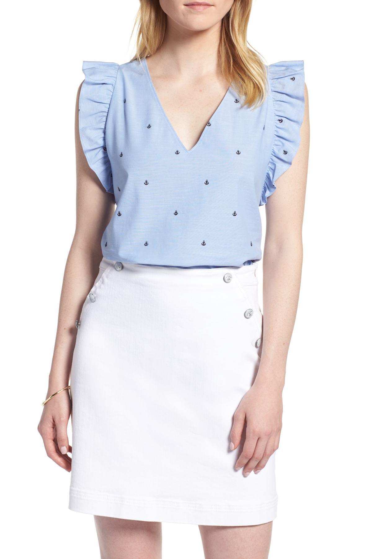 4c5e814833e Lyst - 1901 Anchor Embroidery Cotton Chambray Top (regular   Petite ...