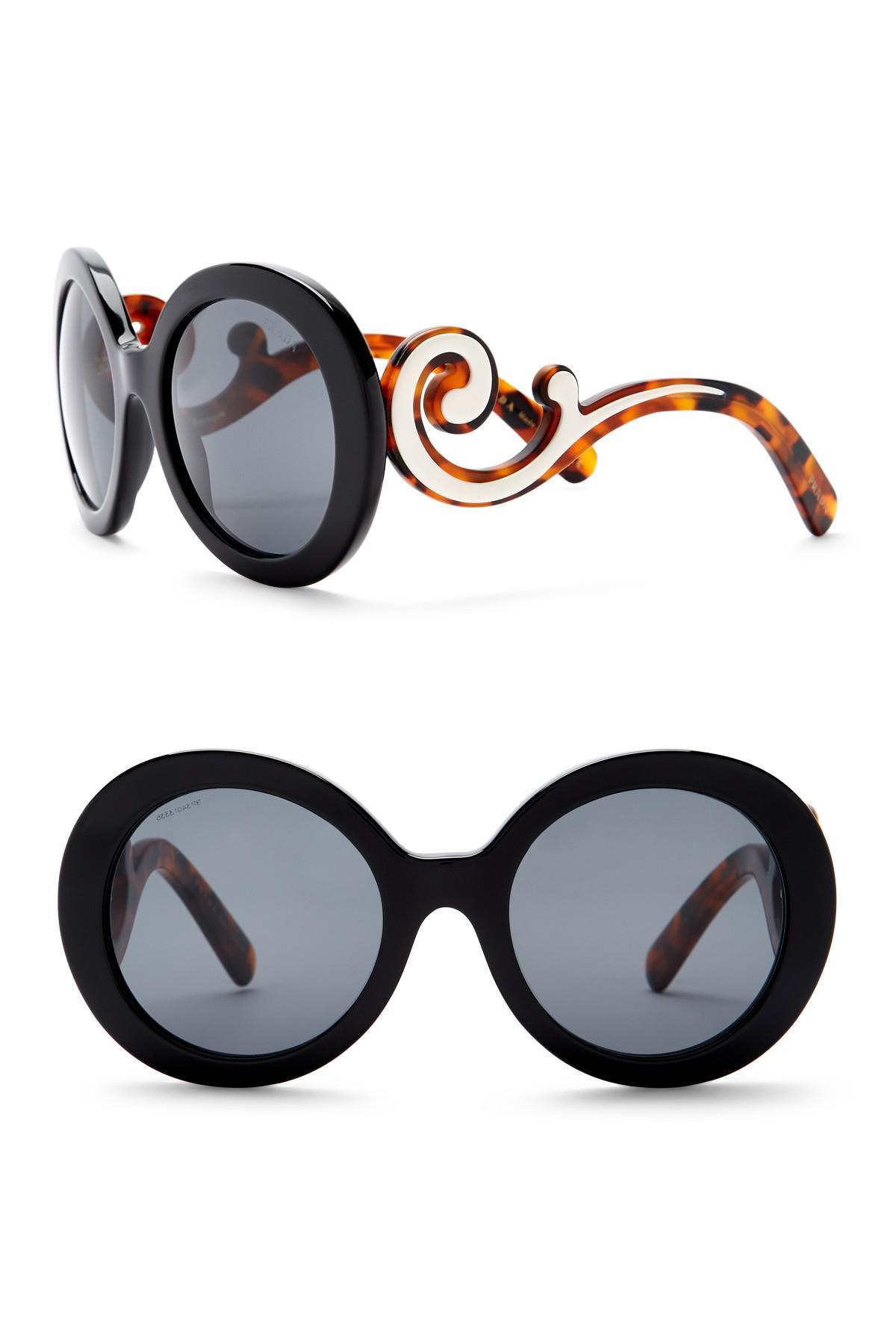 f23a8a9903 Lyst - Prada Women s Round Catwalk Minimal Baroque 55mm Sunglasses ...