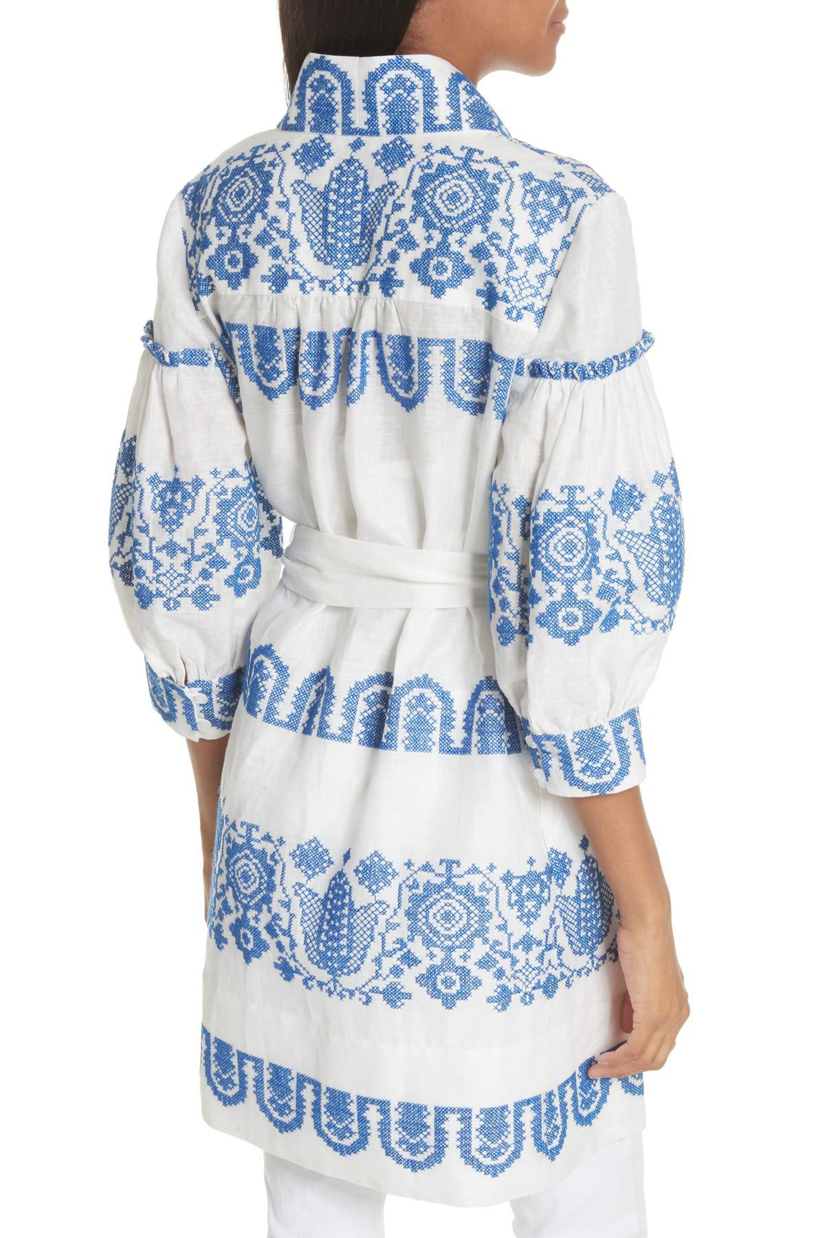 b9b32cb6d31 Lyst - MILLY Mykonos Embroidered Tie Waist Linen Dress in Blue