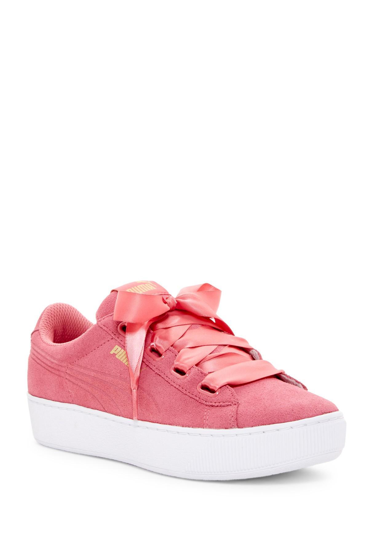 PUMA Suede Vikky Ribbon Platform Sneaker in Pink - Lyst