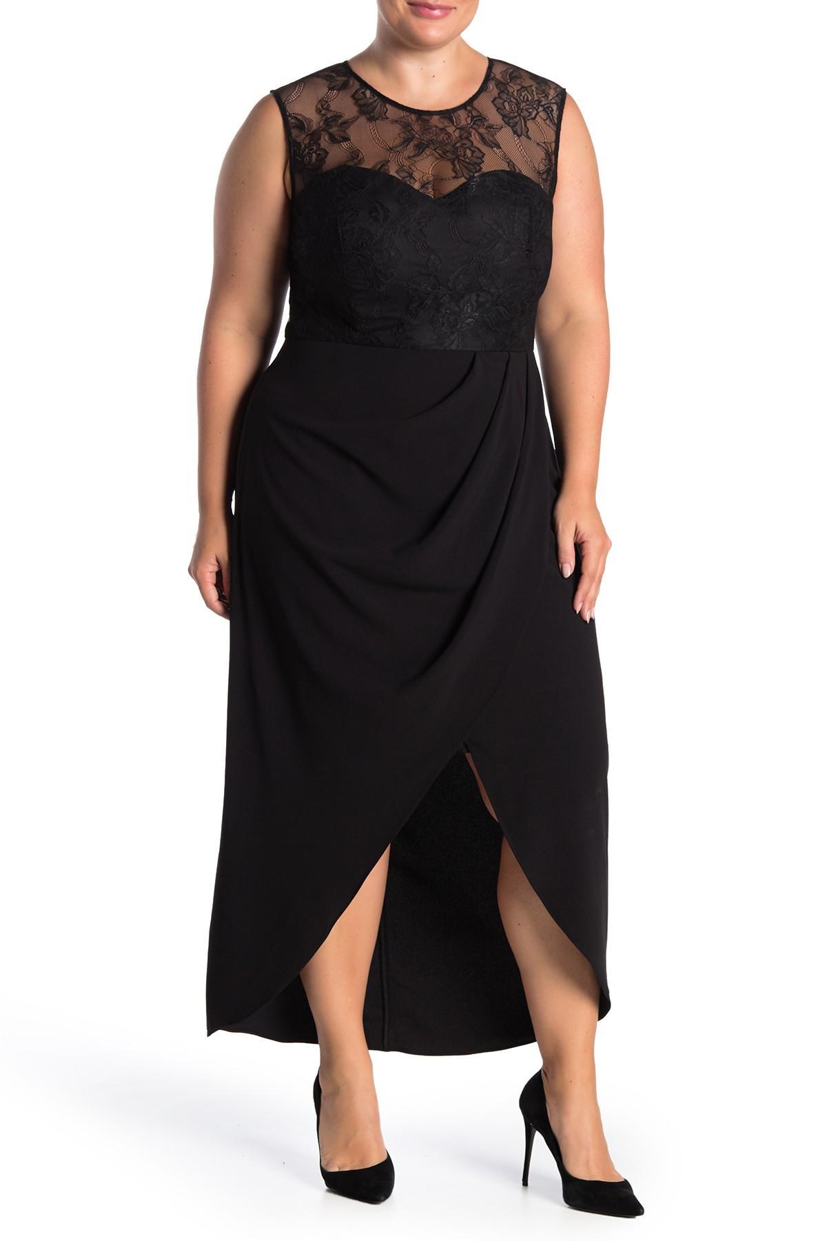 Lace Yoke High/low Dress (plus Size)