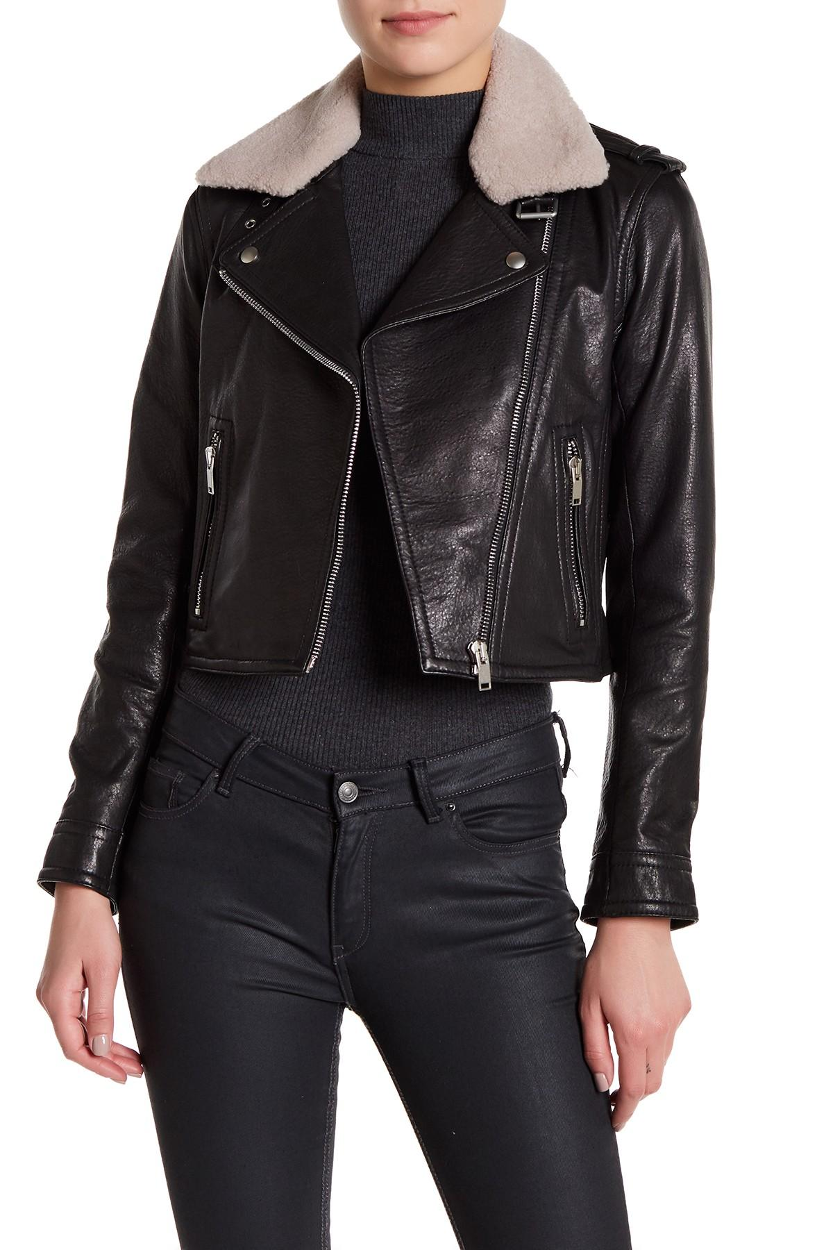 Lyst - Doma Leather Grain Genuine Dyed Shearling Crop ...