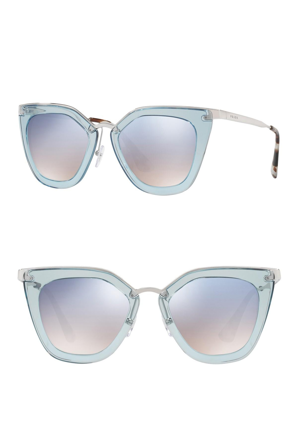 142c95efbf54 Lyst - Prada 52mm Retro Sunglasses in Blue