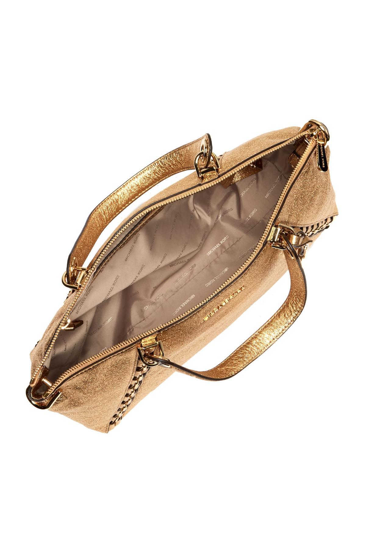 9db871b609fe5a ... ireland lyst michael michael kors chelsea medium crackled leather tote  in gray 15847 70fff