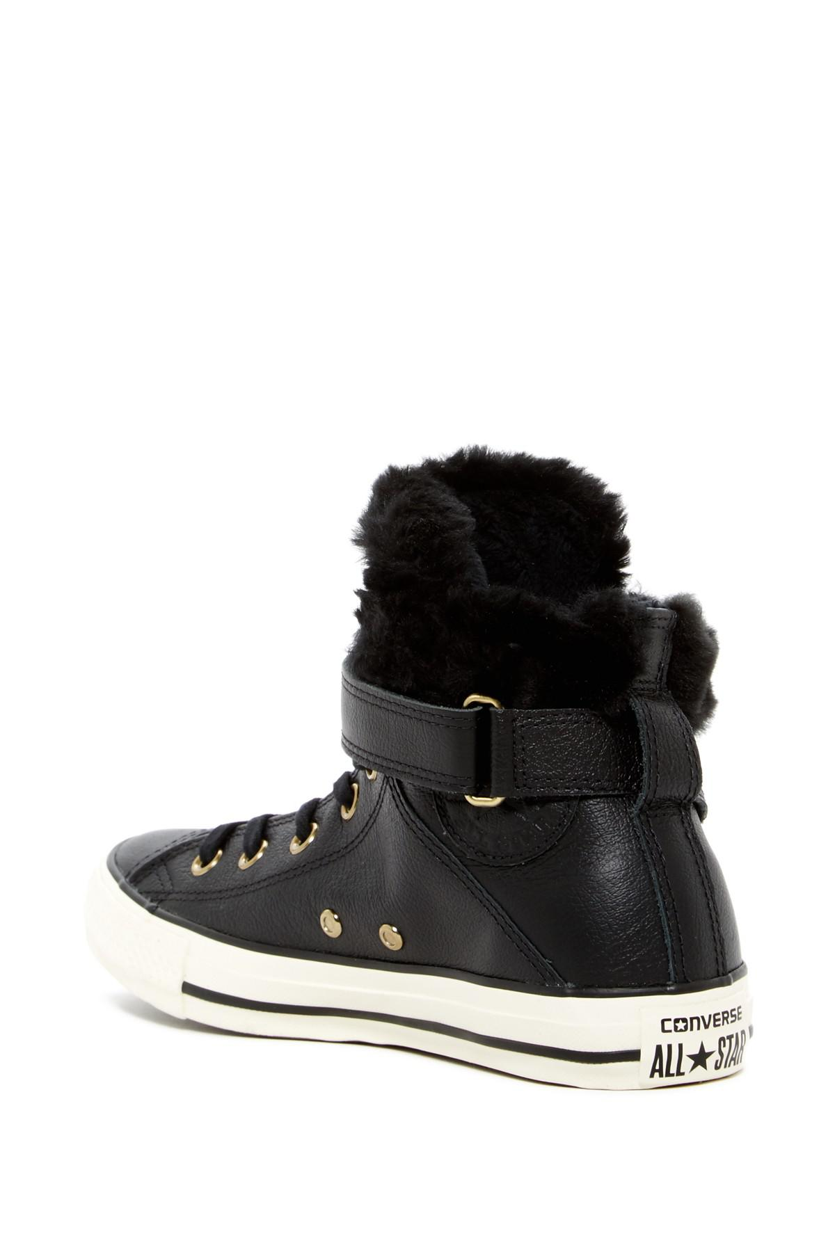 a7bffd89f895 Lyst - Converse Chuck Taylor All Star Faux Fur Lined Leather High ...