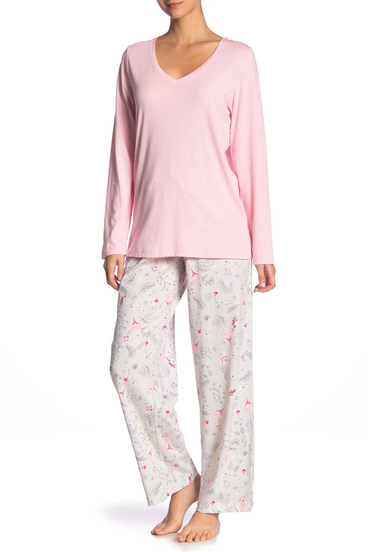 fadf889851 Lyst - Hue Holiday Sparkles 2-piece Pajama Set in Pink