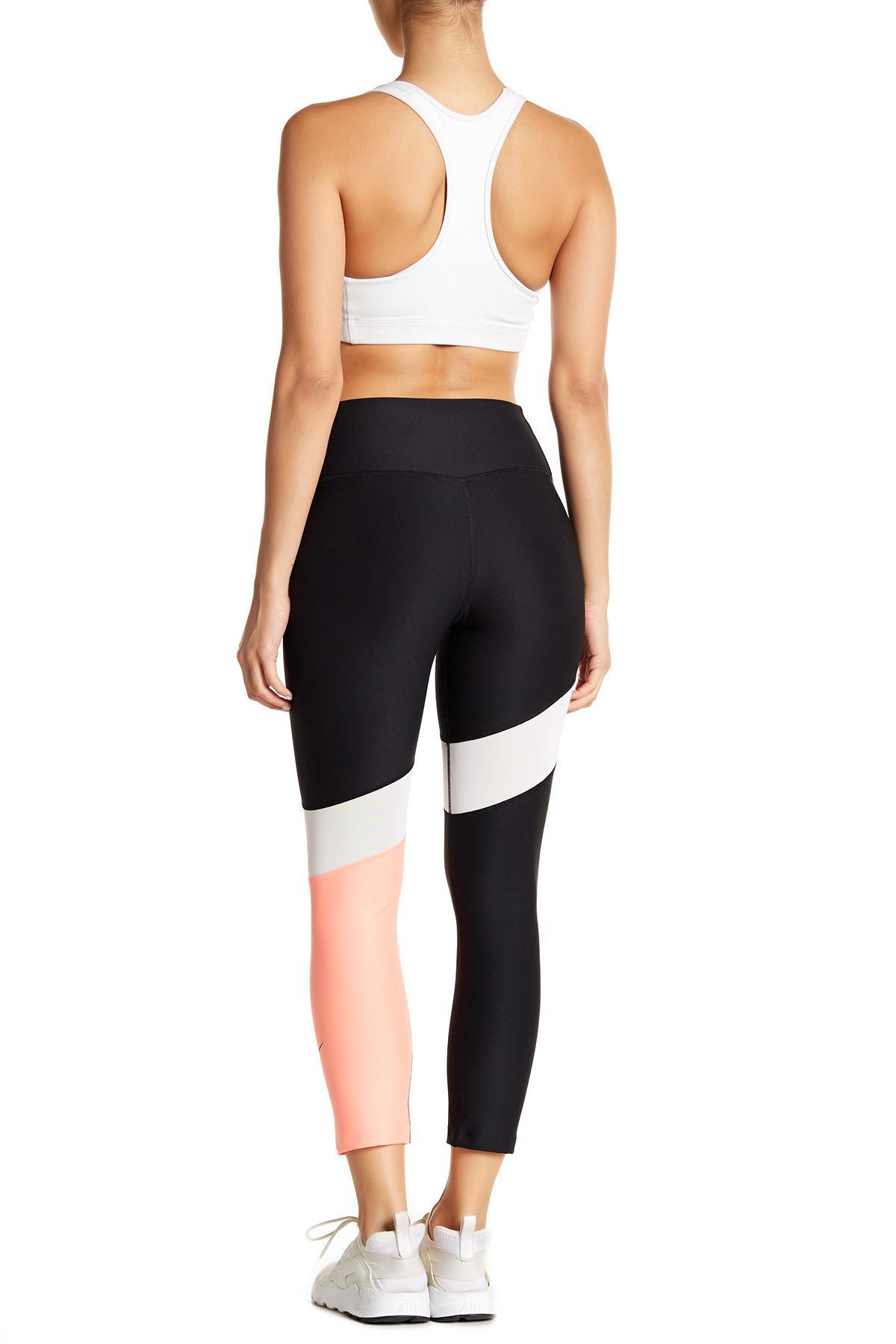 66e1f0d0f3f01 Nike Power Colorblock Crop Leggings in Black - Lyst