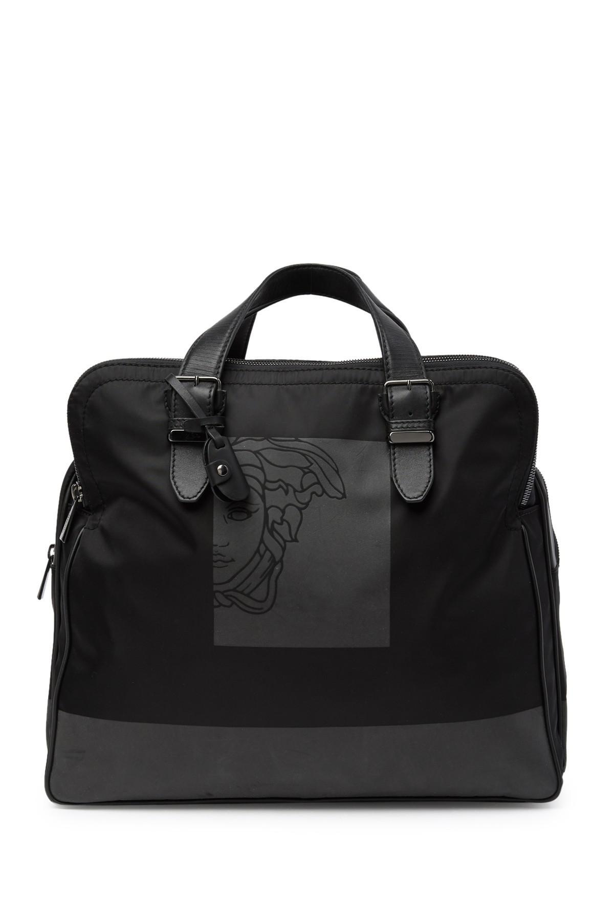 0310f3fdcb Lyst - Versace Medusa Nylon   Leather Weekend Bag in Black for Men