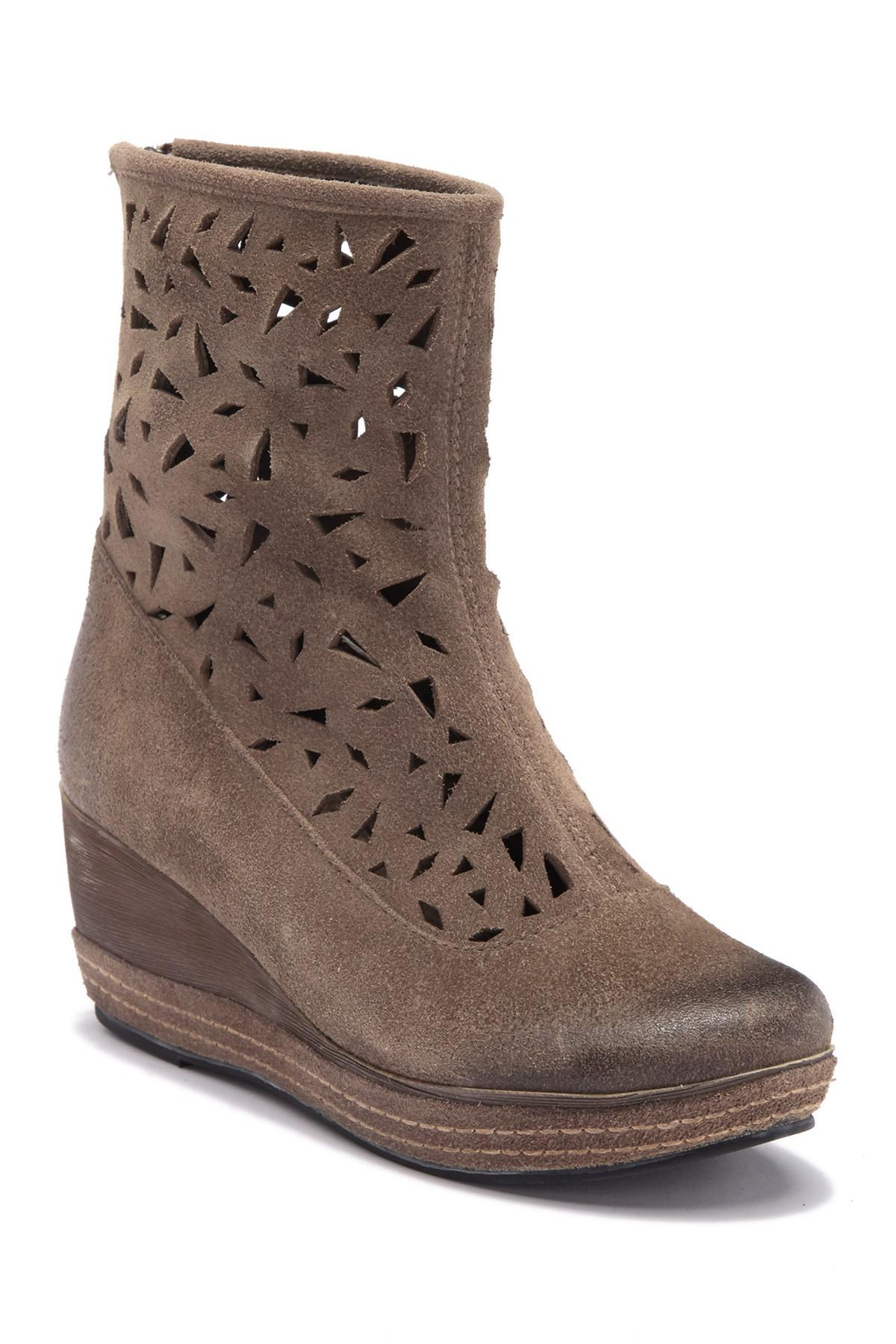 0dc9975f5329 Lyst - Antelope Lasercut Leather Wedge Boot in Gray