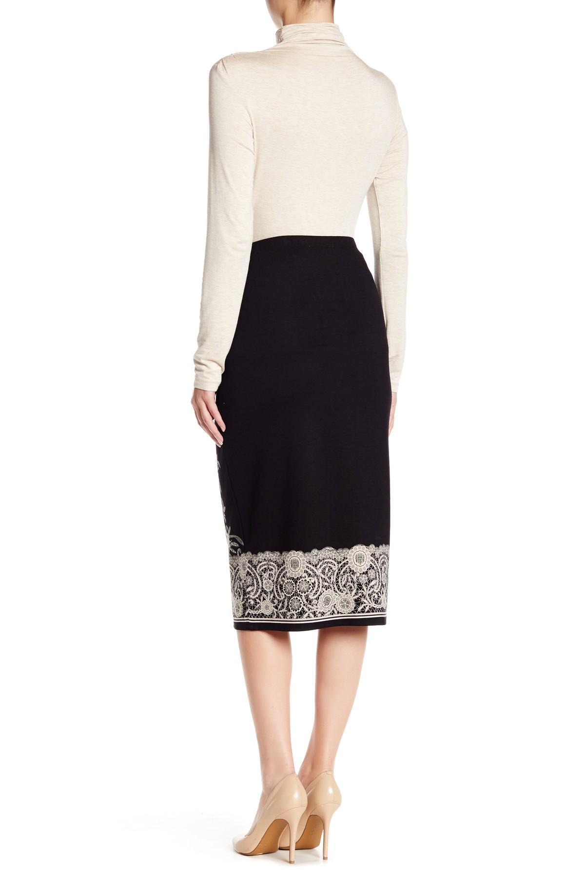 max studio printed ponte midi skirt in black lyst