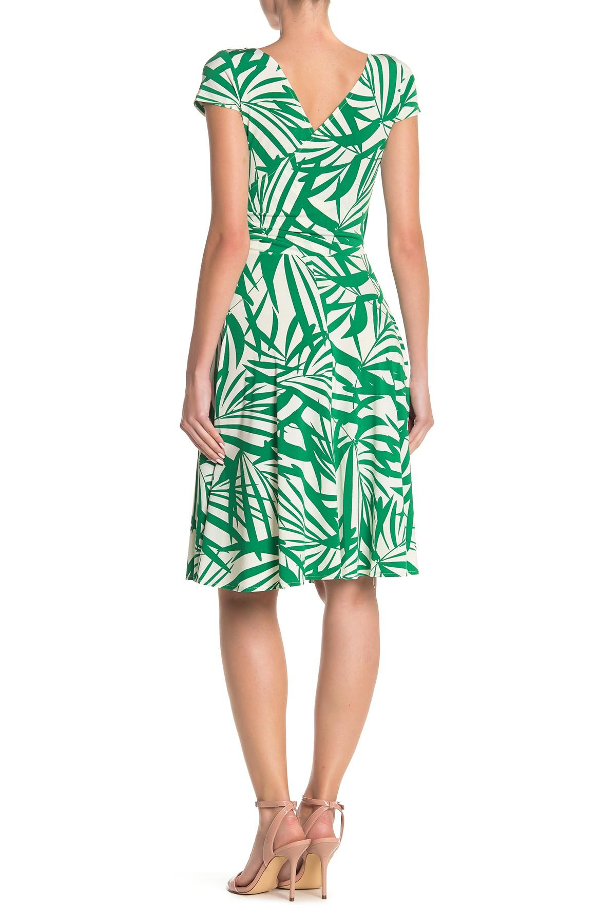 La Maison De Maggy Bondues palm leaf print faux wrap cap sleeve dress