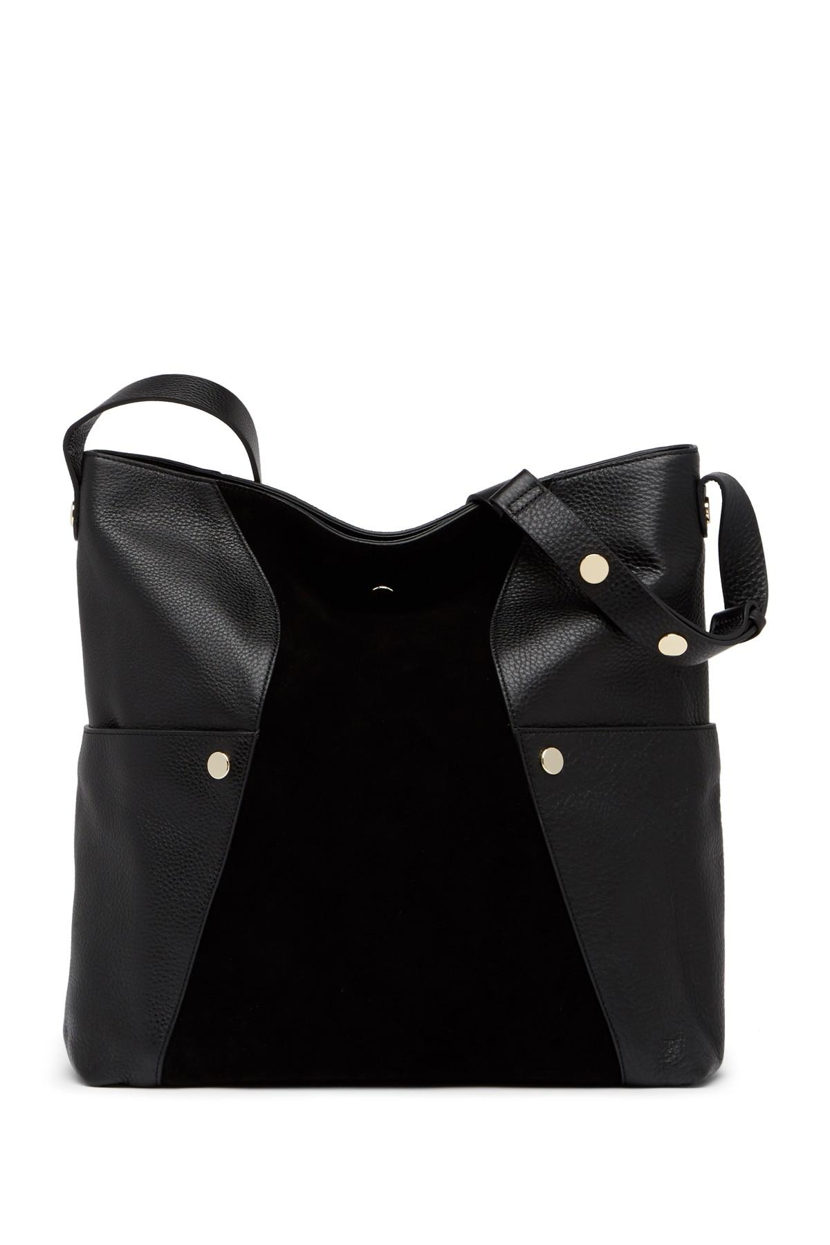 Lyst - Halston Large Suede   Pebbled Leather Hobo Bag in Black 6b93fe7d8ae6d