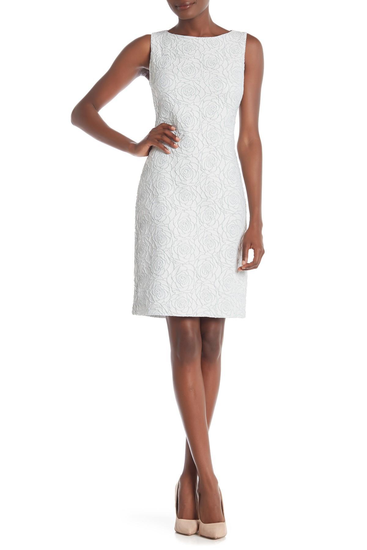 ac6de15020a63 Lyst - Donna Ricco Textured Sleeveless Dress in White