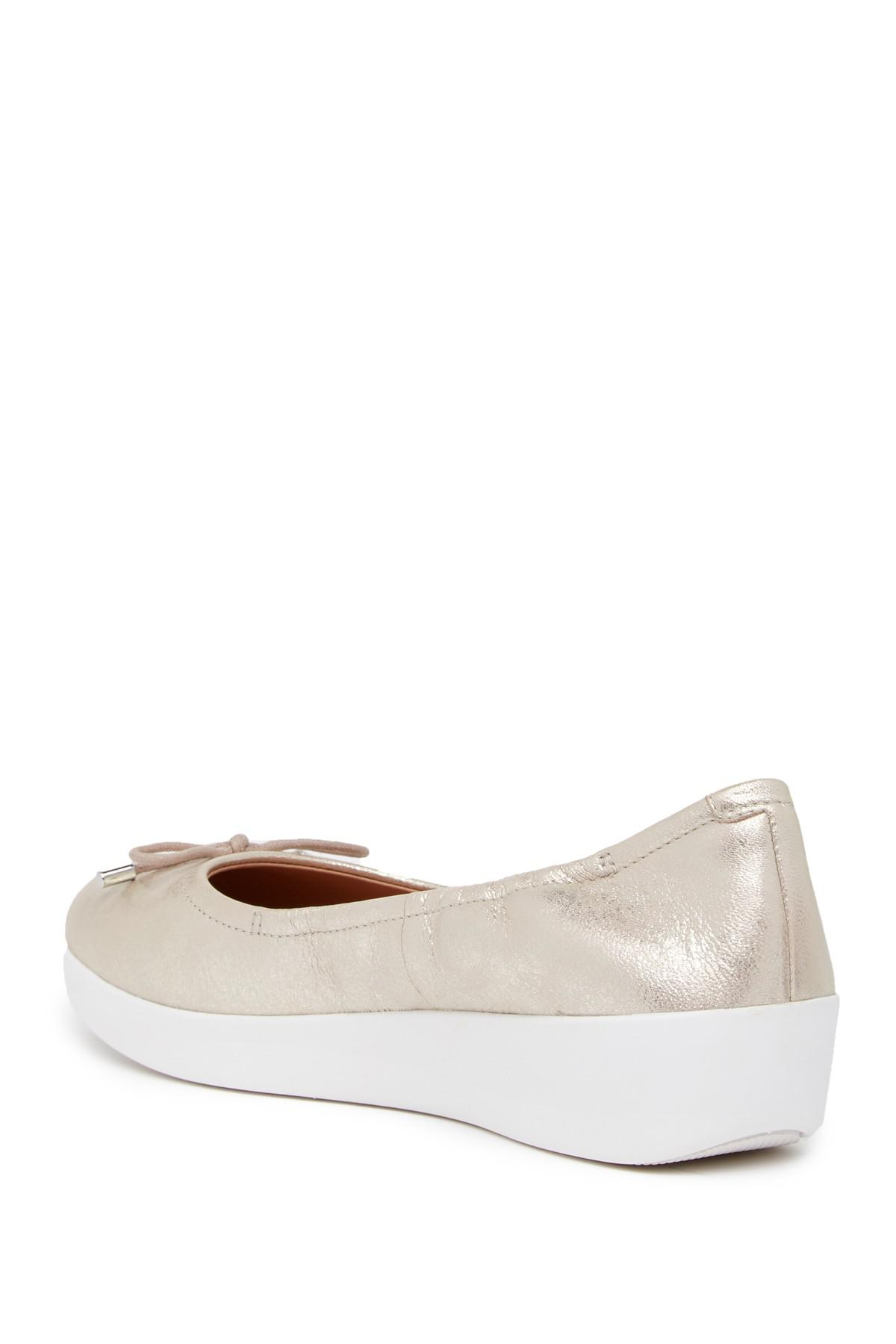 Fitflop Superbendy Metallic Leather Ballerina Slip-On Shoe nACoZhR89
