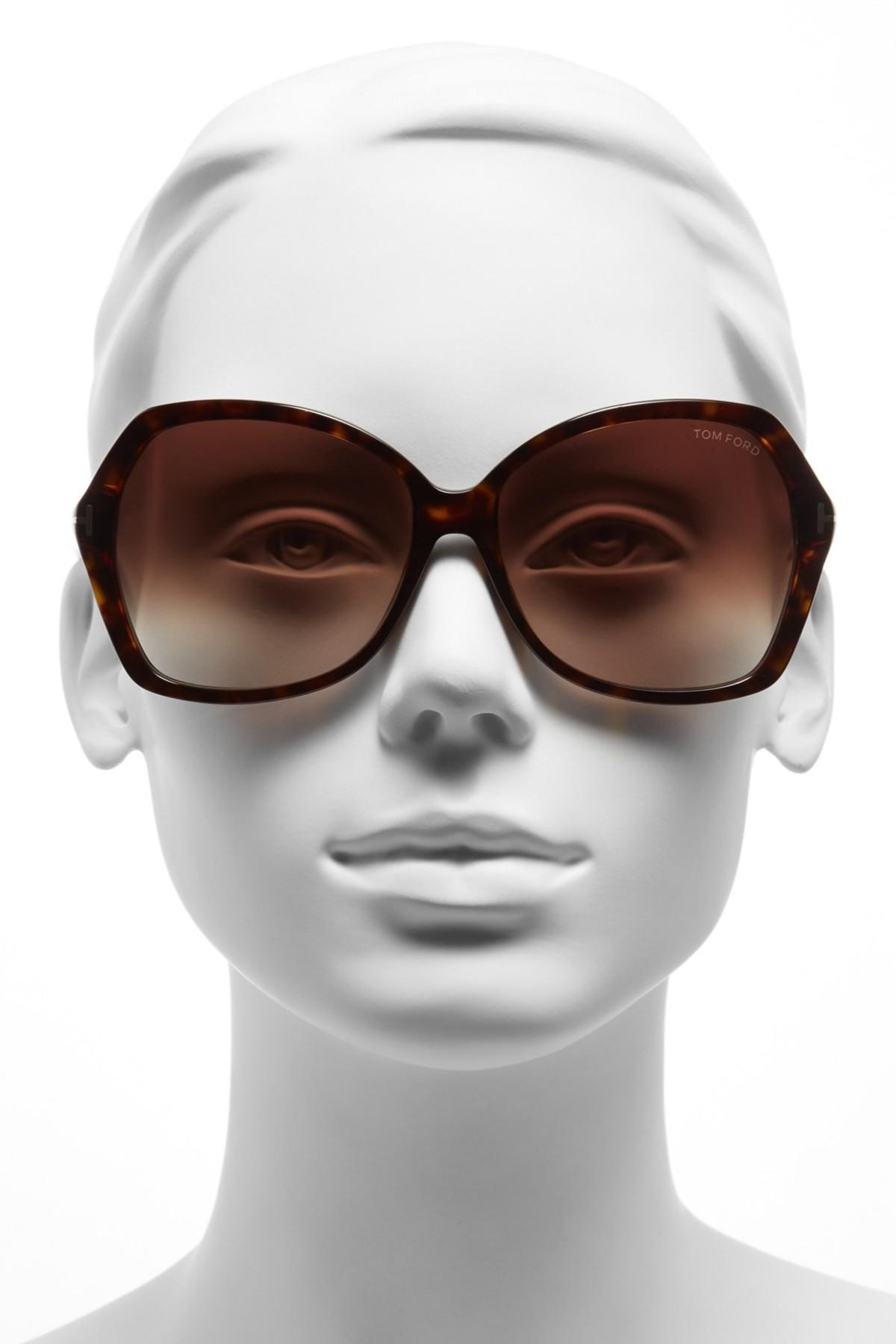 ad94053dc26 Lyst - Tom Ford Women s Carola Butterfly Sunglasses in Brown