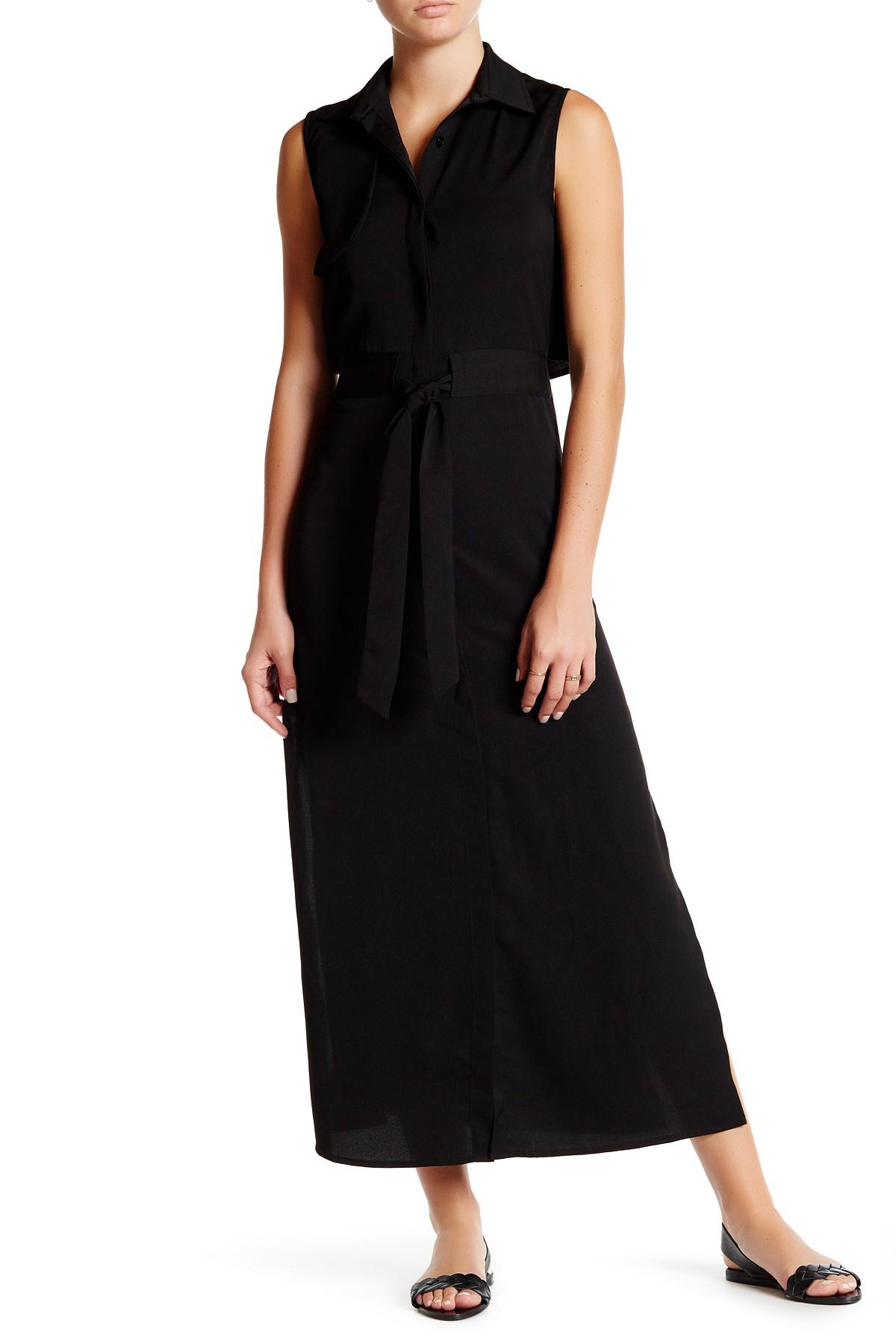 Six Crisp Days Split Back Maxi Shirt Dress In Black Lyst