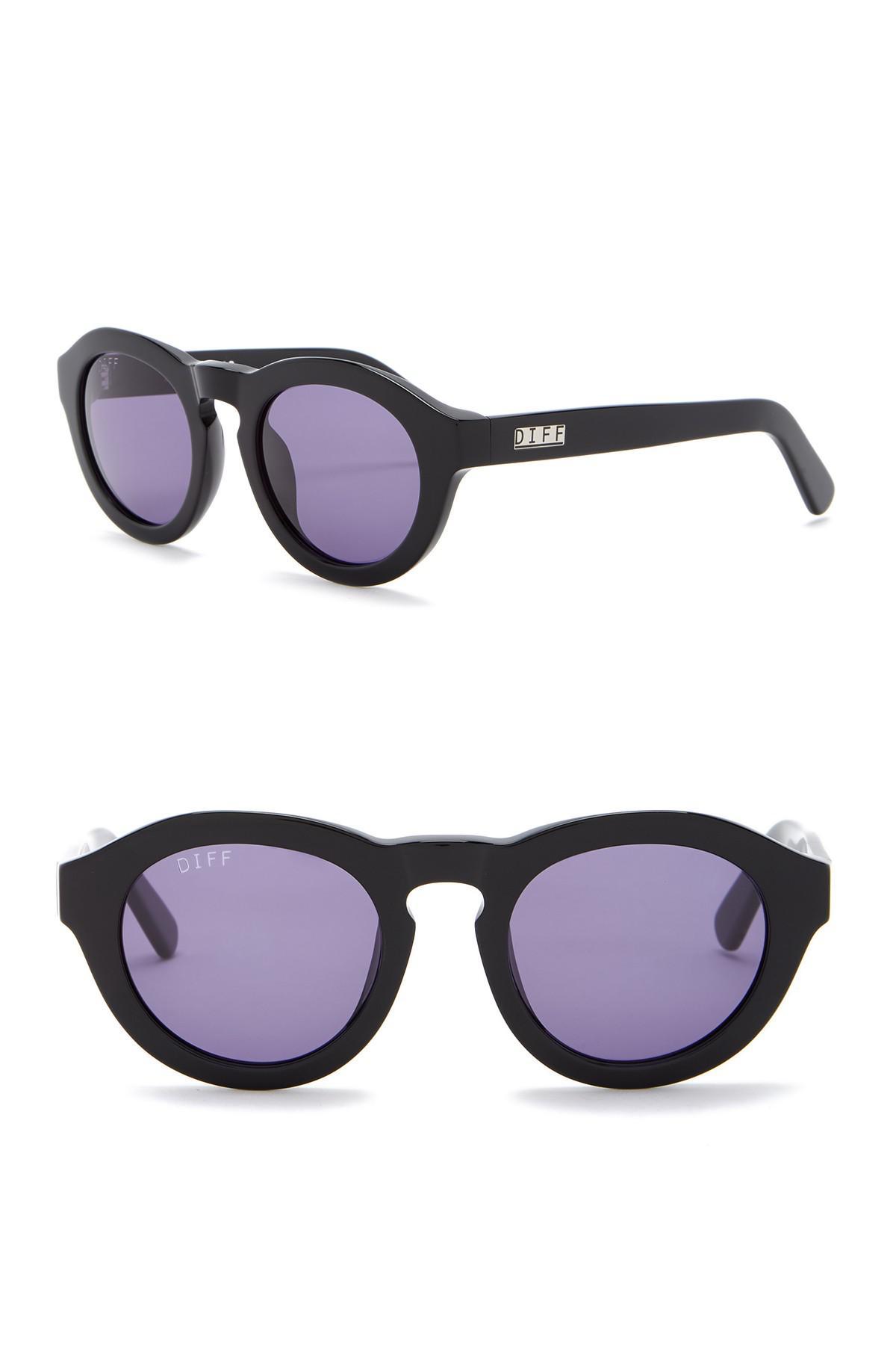 bf75991ba6 DIFF - Black Dime Round Keyhole Bridge 48mm Acetate Sunglasses - Lyst. View  fullscreen
