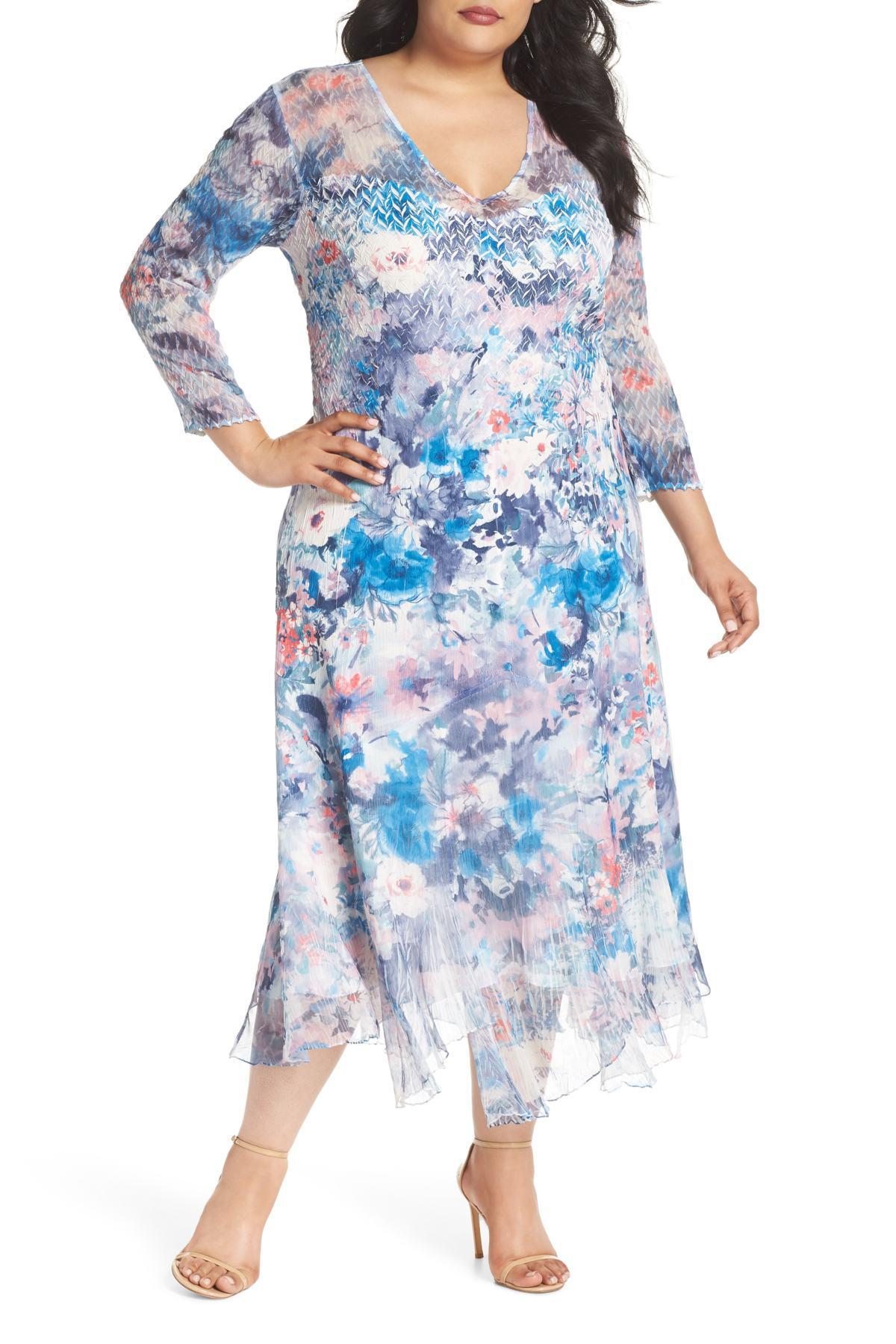 Komarov Inset Floral Charmeuse & Chiffon A-line Dress (plus ...