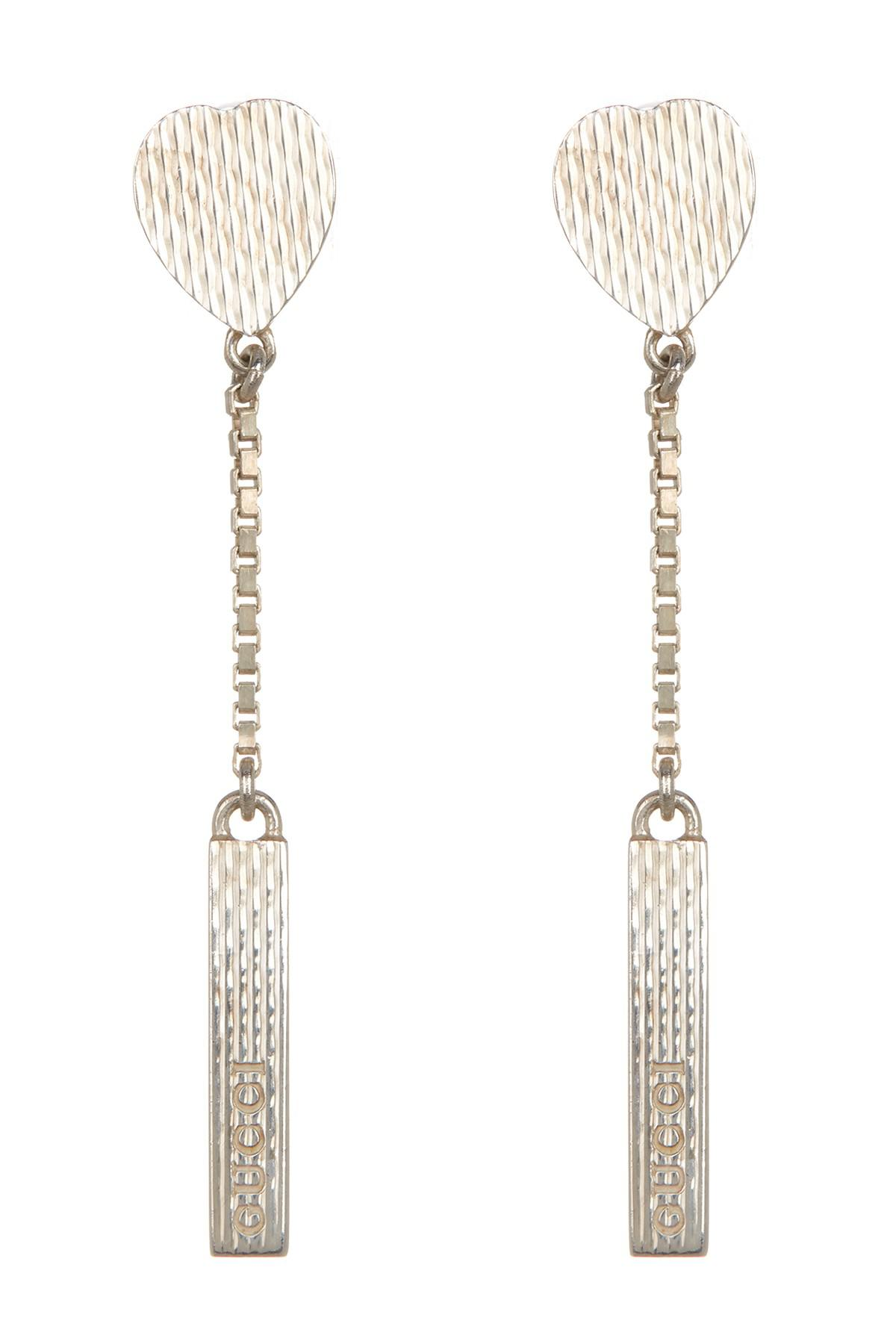 718db484e3e Gucci Sterling Silver Branded Linear Drop Earrings in Metallic - Lyst