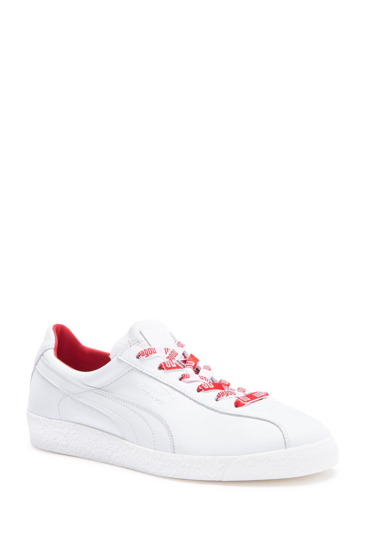 Men's White Te ku Russia Fm Leather Sneaker