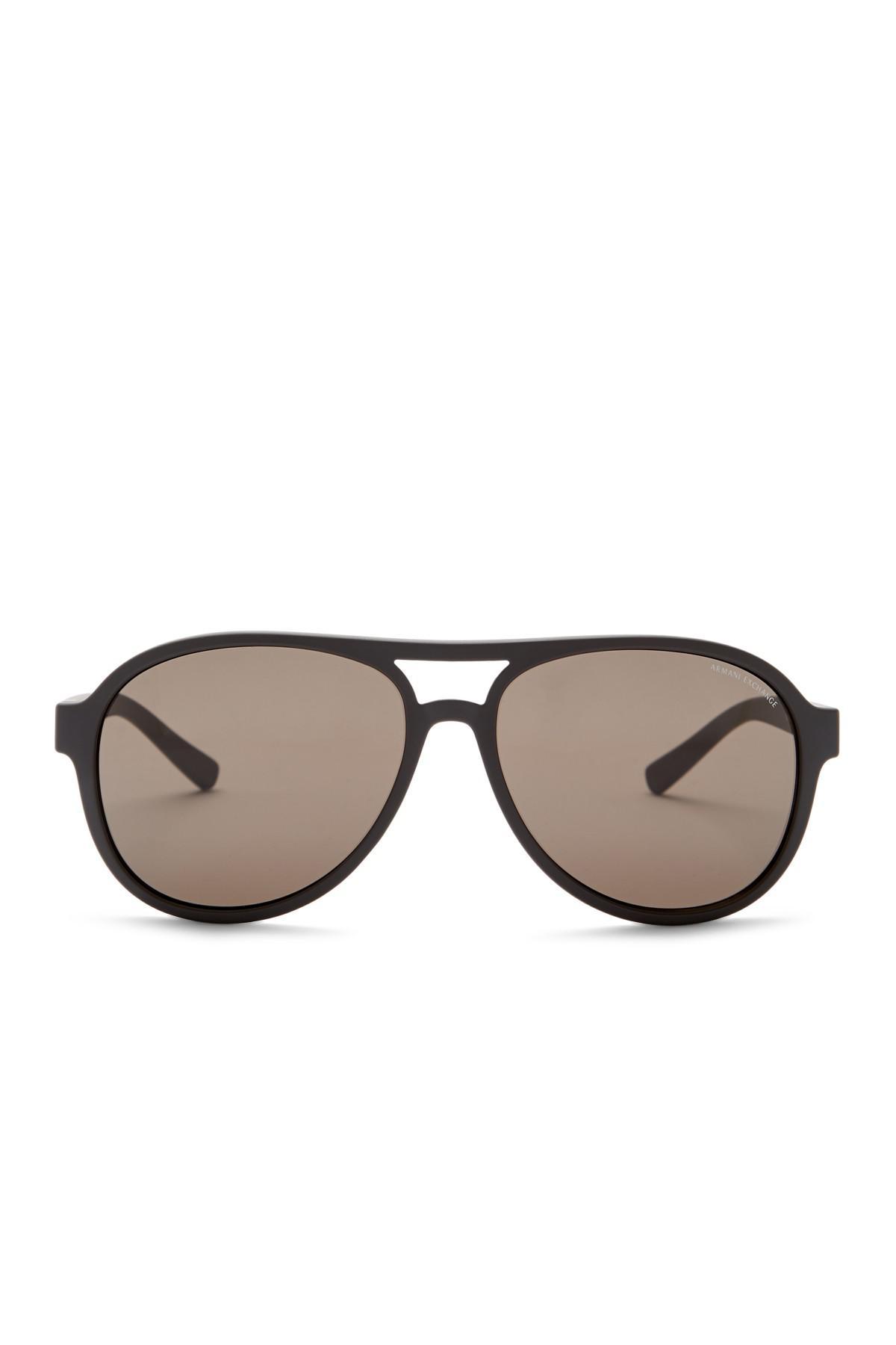 e167f2e62b8e Lyst - Armani Exchange 58mm Aviator Sunglasses in Brown for Men